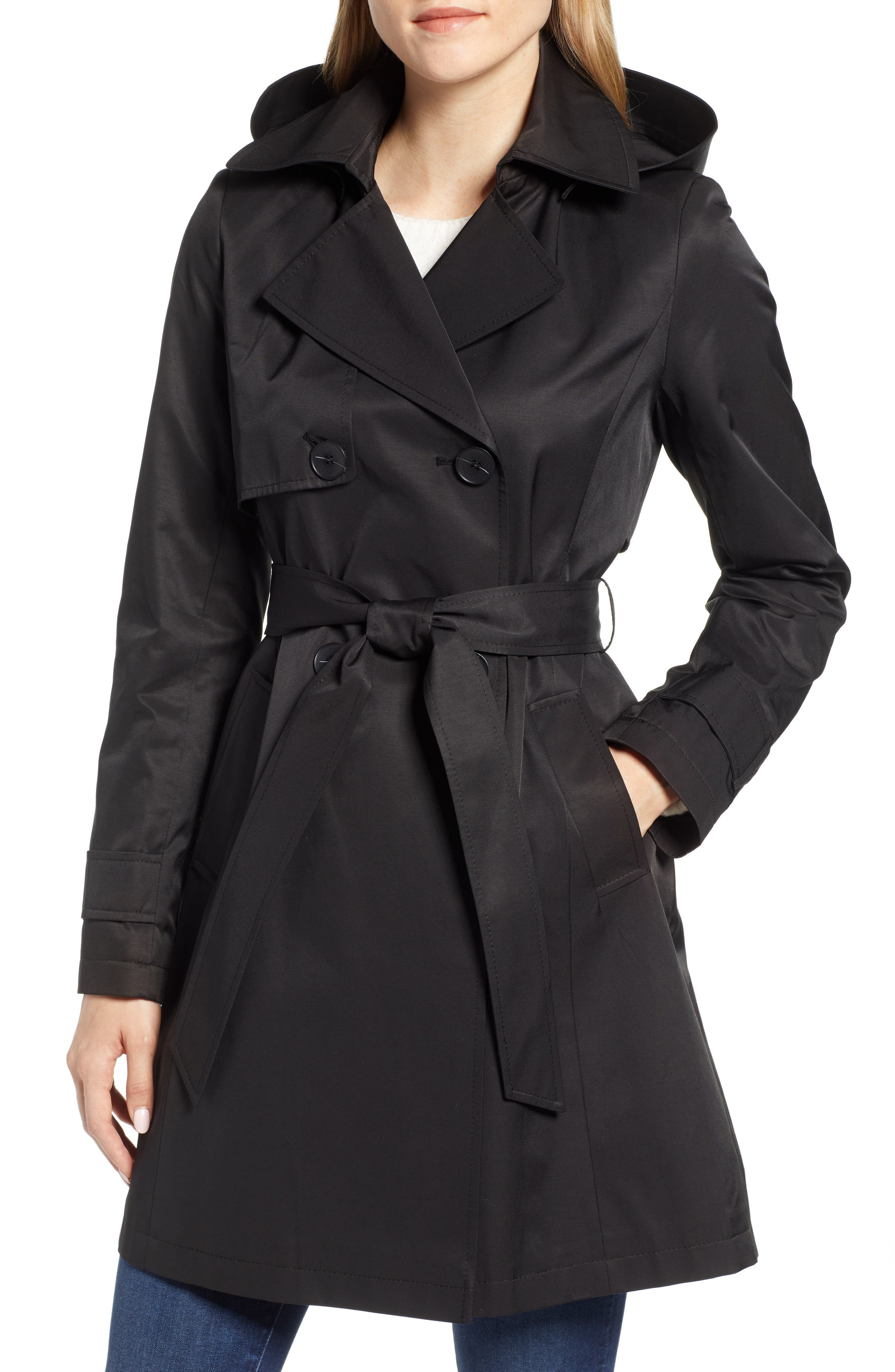 HALOGEN<SUP>®</SUP>, Hooded Trench Coat, Main thumbnail 1, color, BLACK