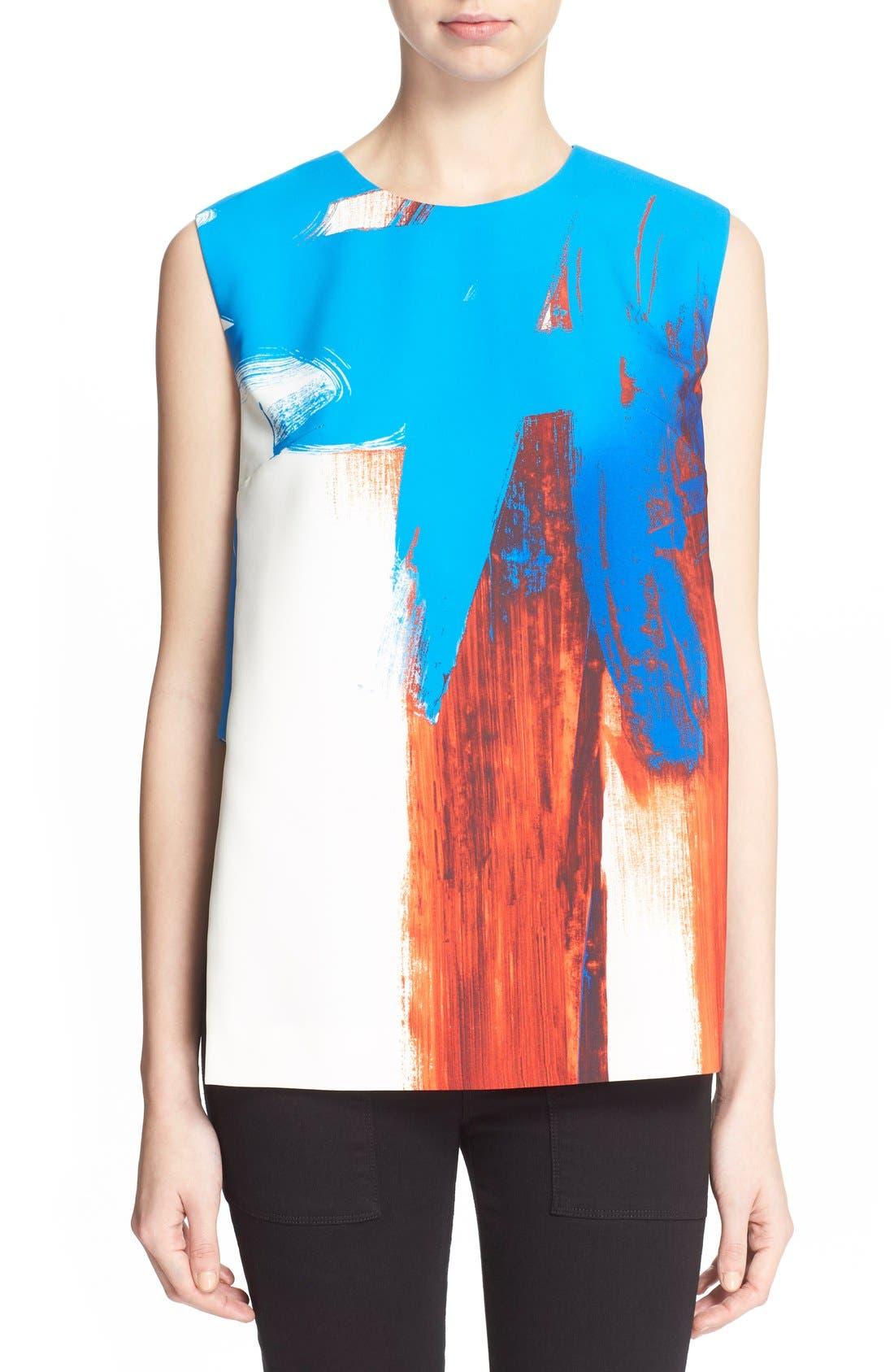 MILLY Brushstroke Print Sleeveless Top, Main, color, 005