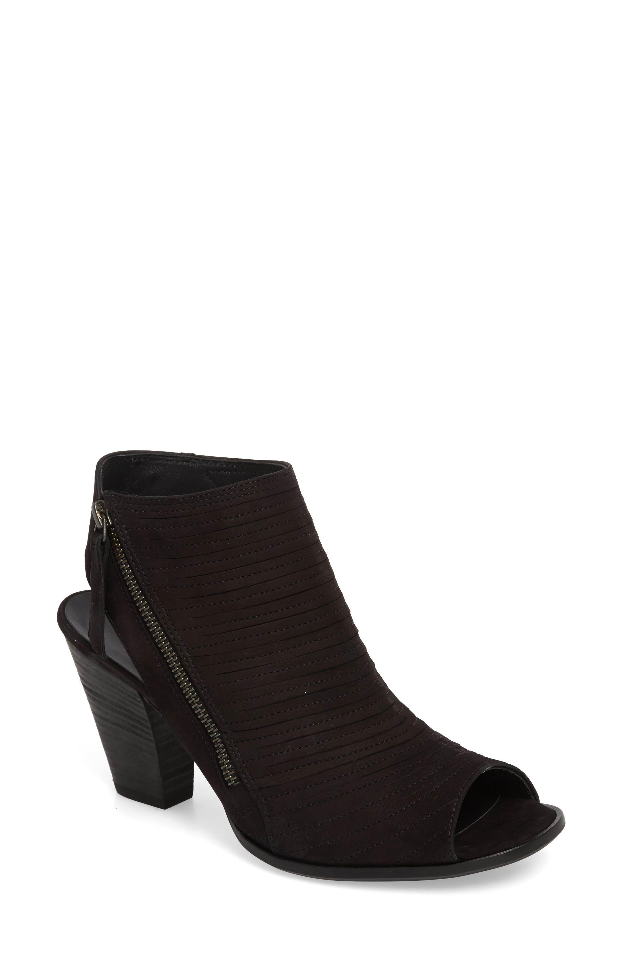 PAUL GREEN, 'Cayanne' Leather Peep Toe Sandal, Main thumbnail 1, color, BLACK SUEDE