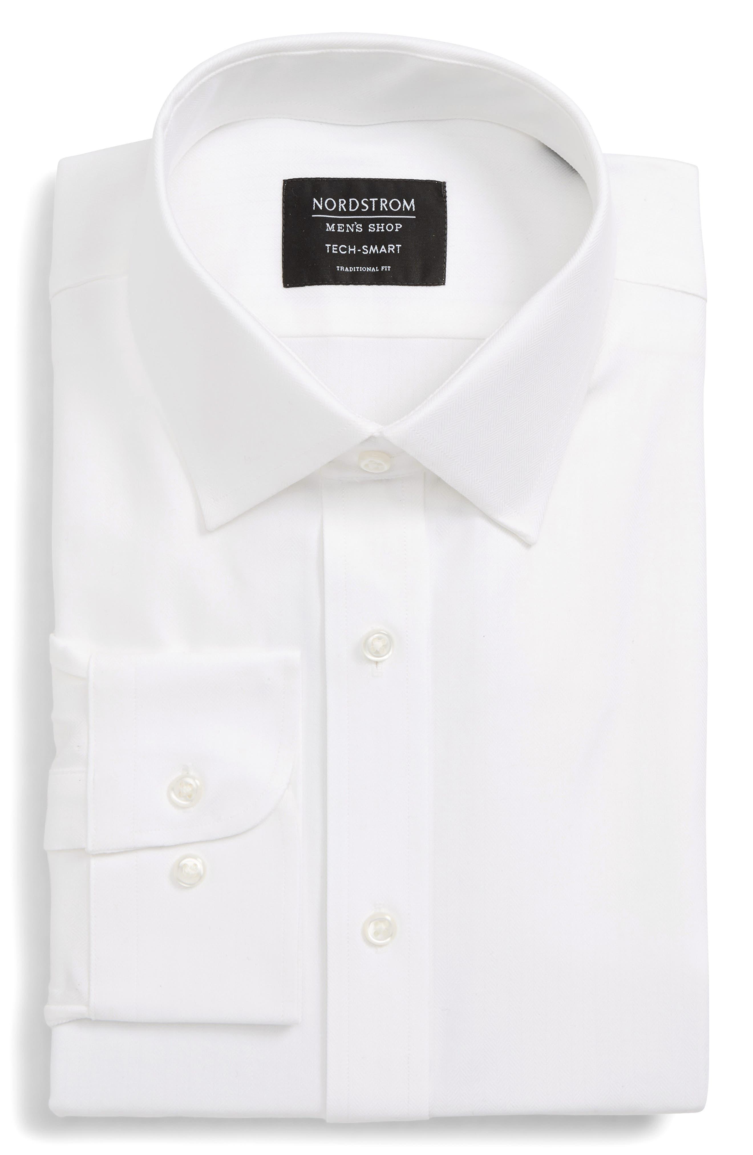 NORDSTROM MEN'S SHOP, Tech-Smart Traditional Fit Stretch Herringbone Dress Shirt, Alternate thumbnail 5, color, WHITE