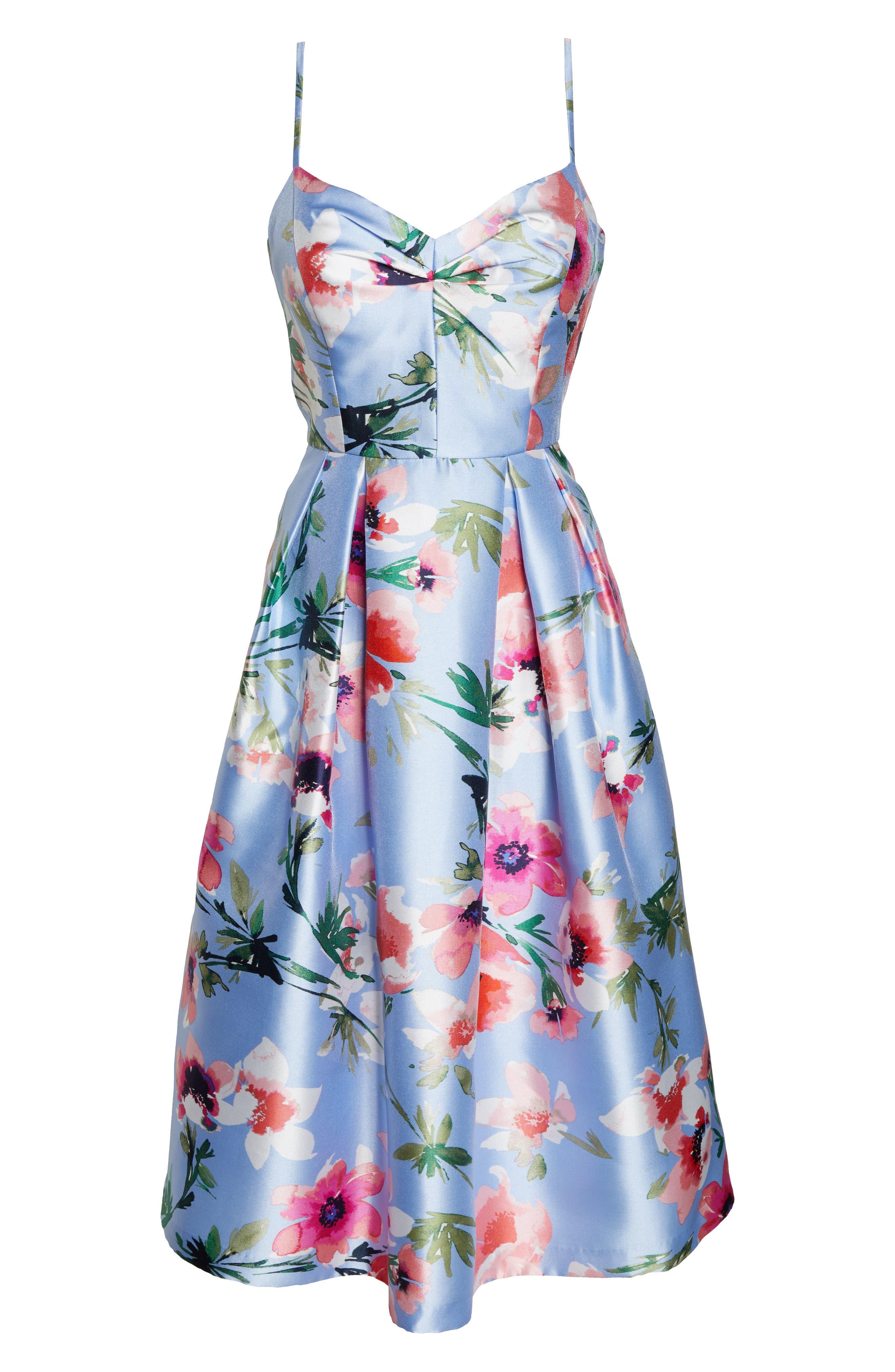 ELIZA J, Floral Print Satin Cocktail Dress, Alternate thumbnail 7, color, BLUE