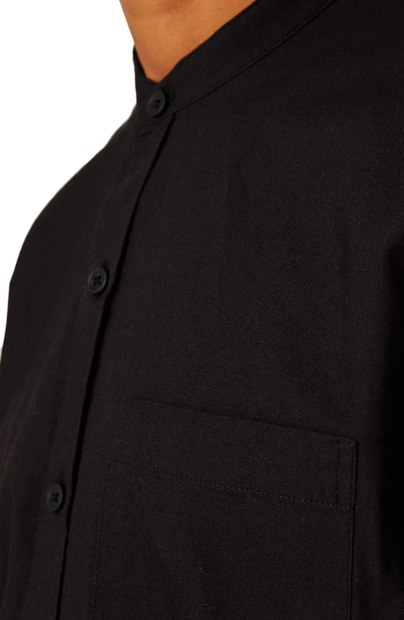 TOPMAN, Band Collar Shirt, Alternate thumbnail 2, color, 001