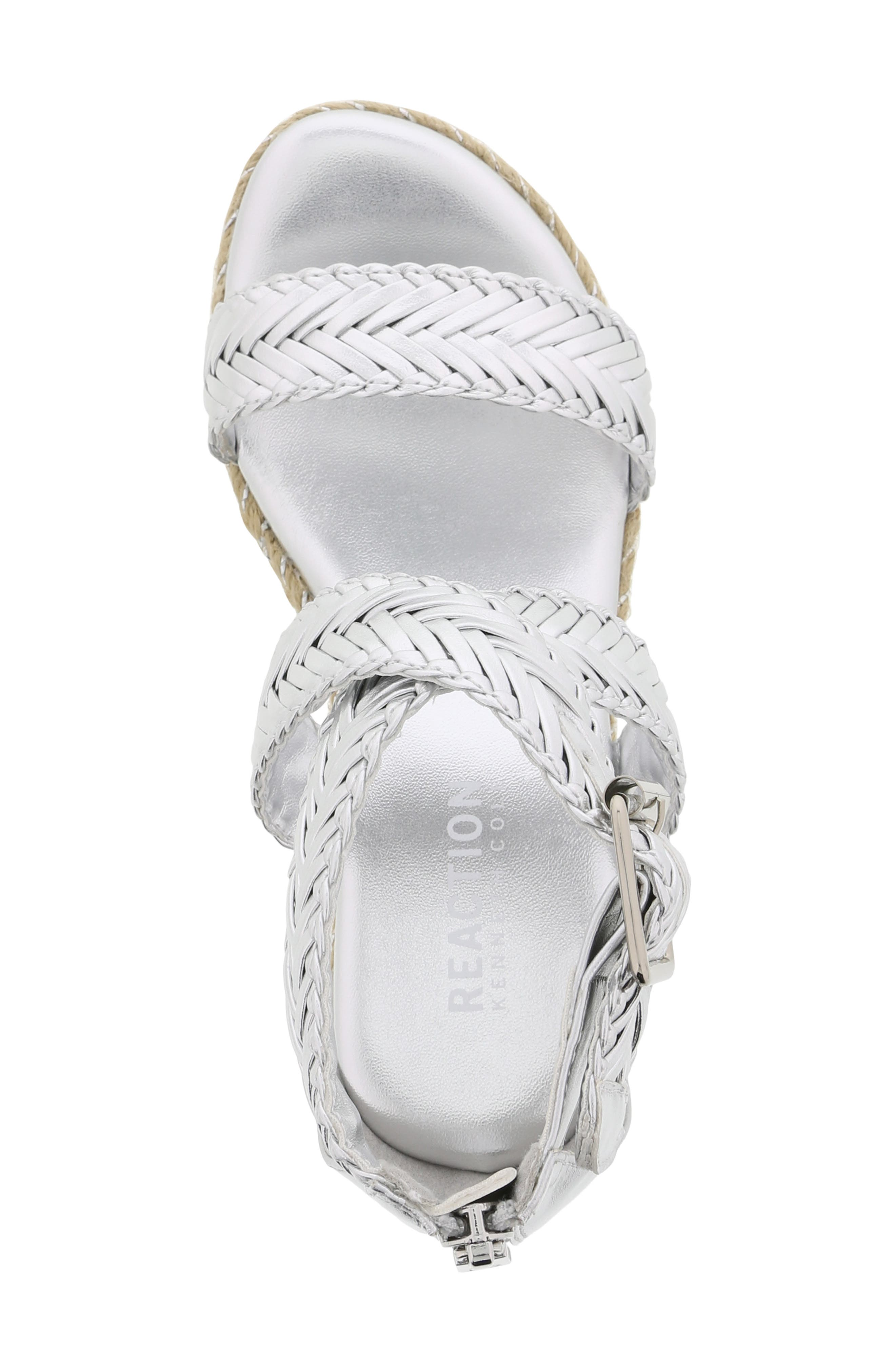 REACTION KENNETH COLE, Reed Sway Metallic Wedge Sandal, Alternate thumbnail 5, color, SILVER