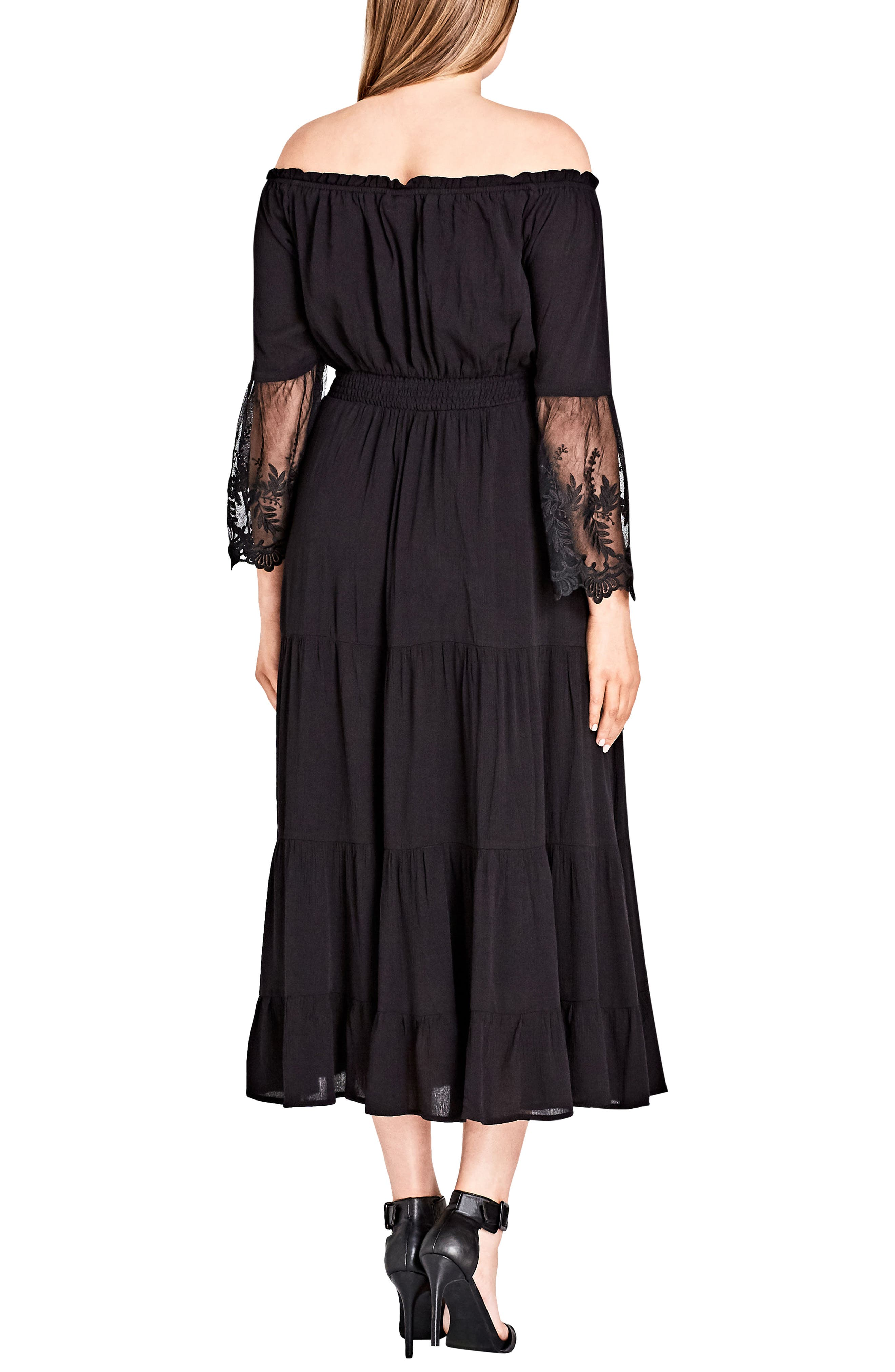 CITY CHIC, Ethereal Maxi Dress, Alternate thumbnail 2, color, BLACK