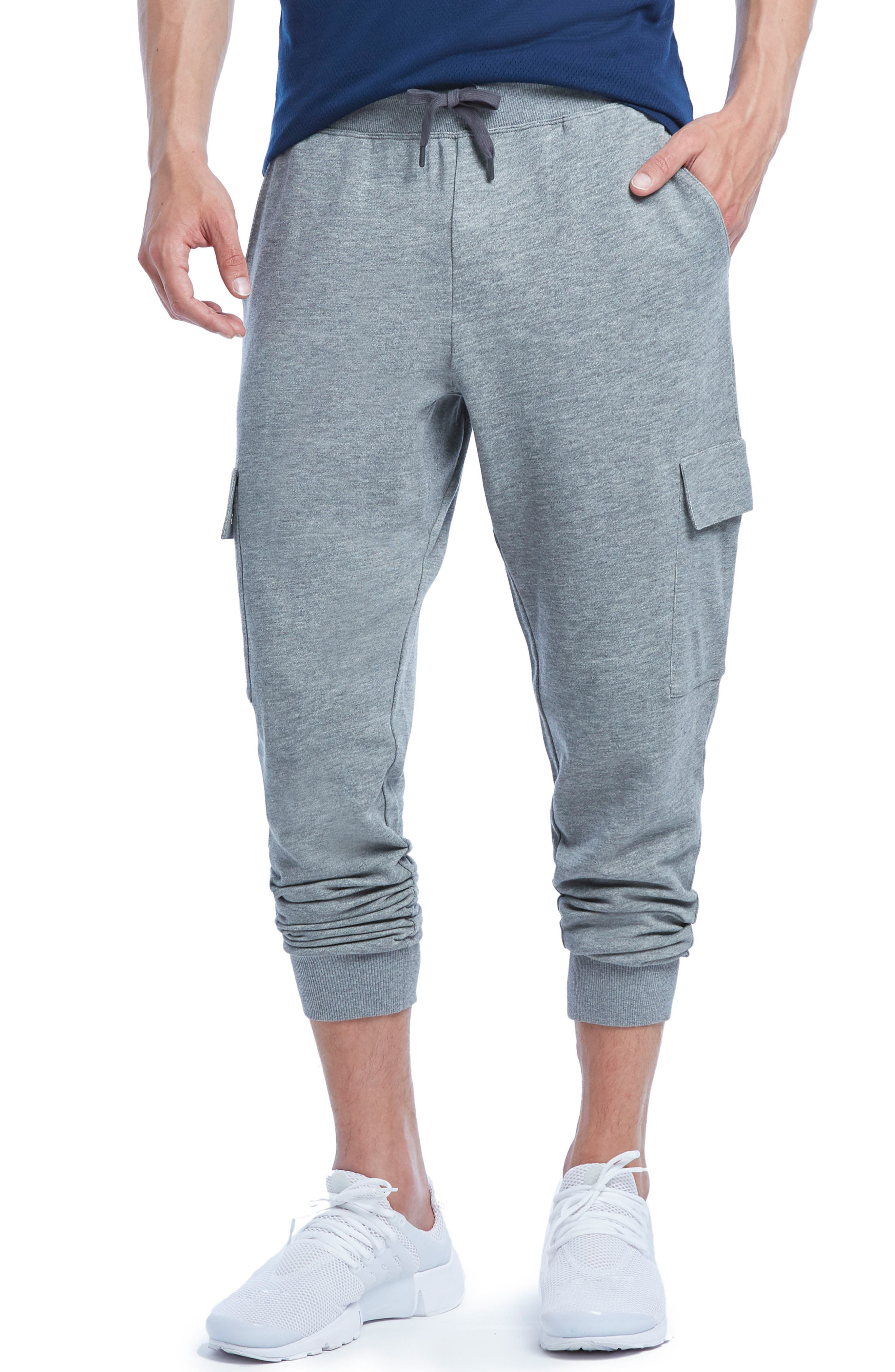 2(X)Ist Cotton Blend Cargo Sweatpants, Grey