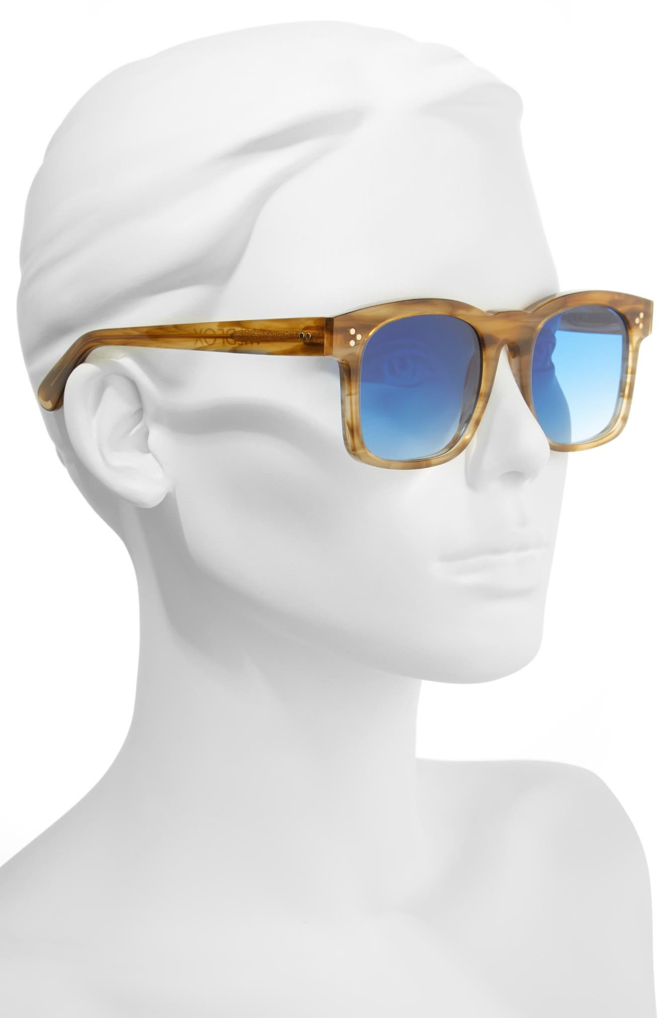 WILDFOX, Gaudy Zero 51mm Flat Square Sunglasses, Alternate thumbnail 2, color, SIERRA TORTOISE