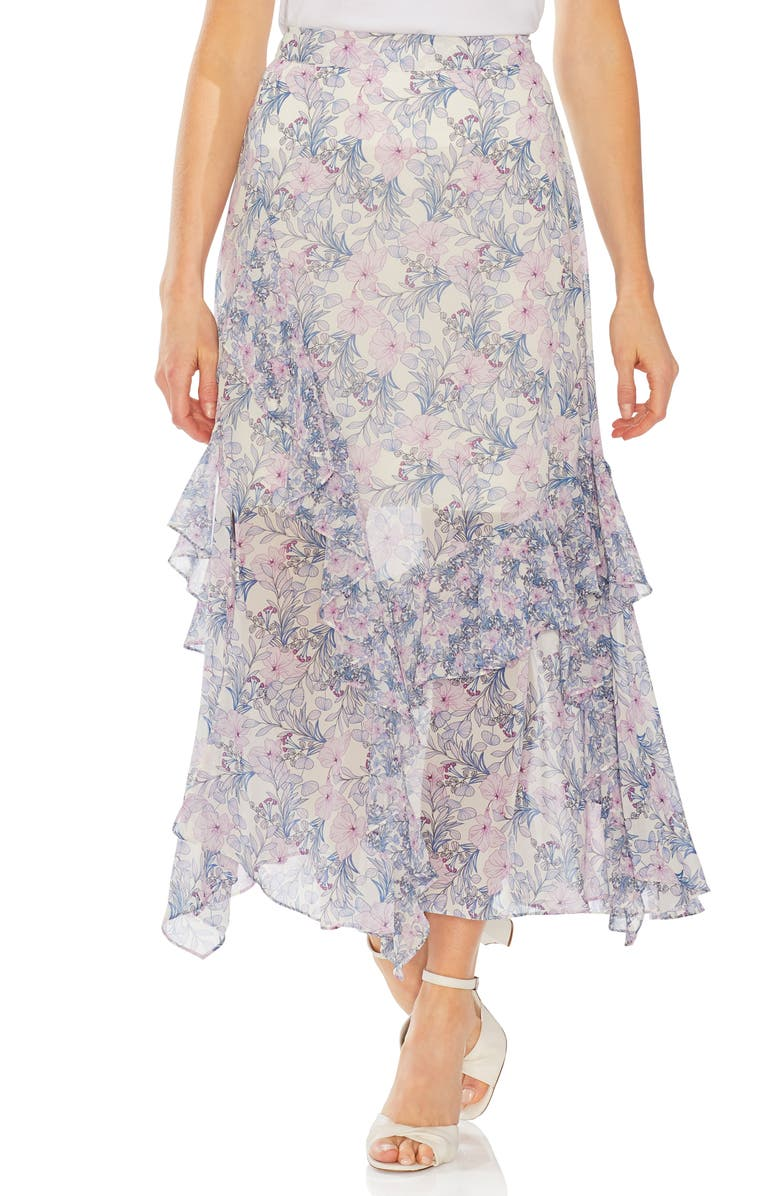Vince Camuto Skirts CHARMING FLORAL TIERED RUFFLE SKIRT