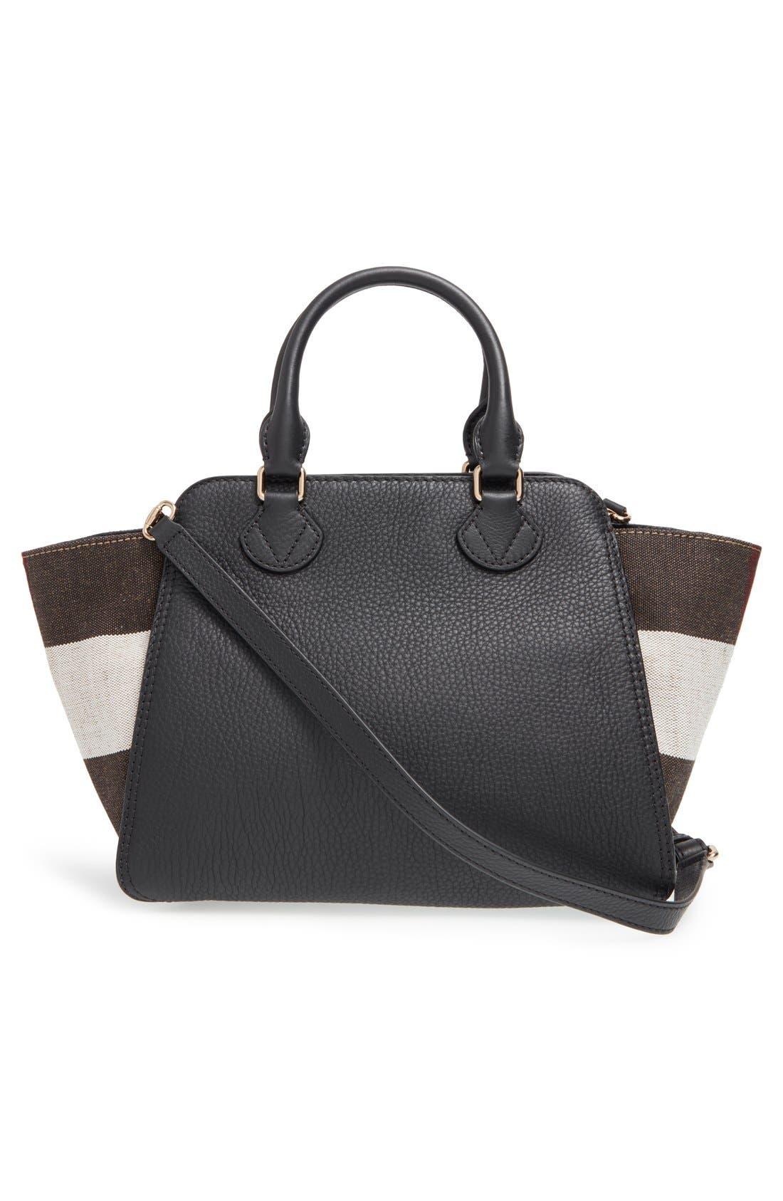 BURBERRY, 'Medium Harcourt' Check & Pebbled Leather Satchel, Alternate thumbnail 5, color, 001