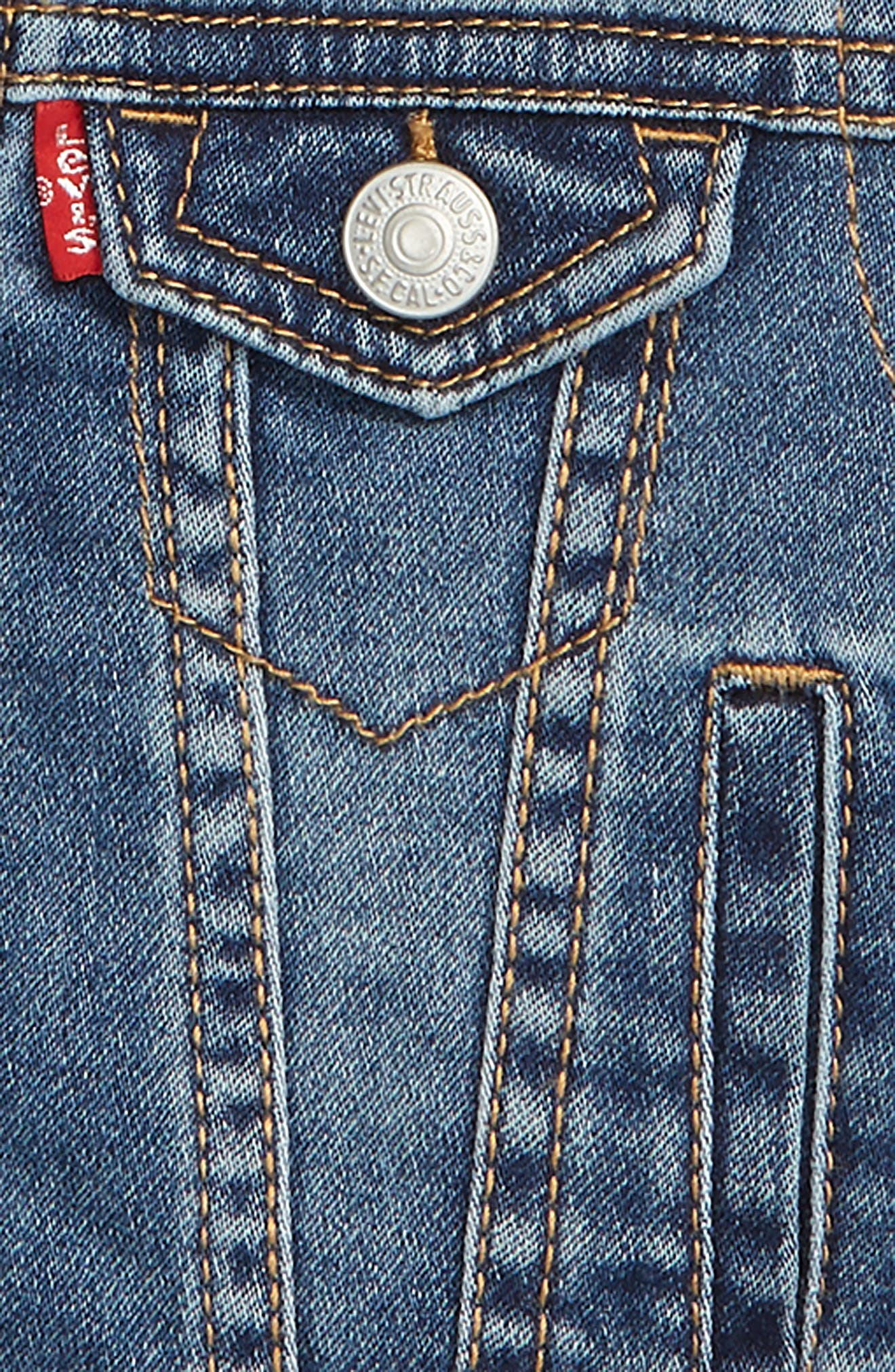 LEVI'S<SUP>®</SUP>, Levi's<sup>®</sup> Indigo Hooded Trucker Jacket, Alternate thumbnail 2, color, 452