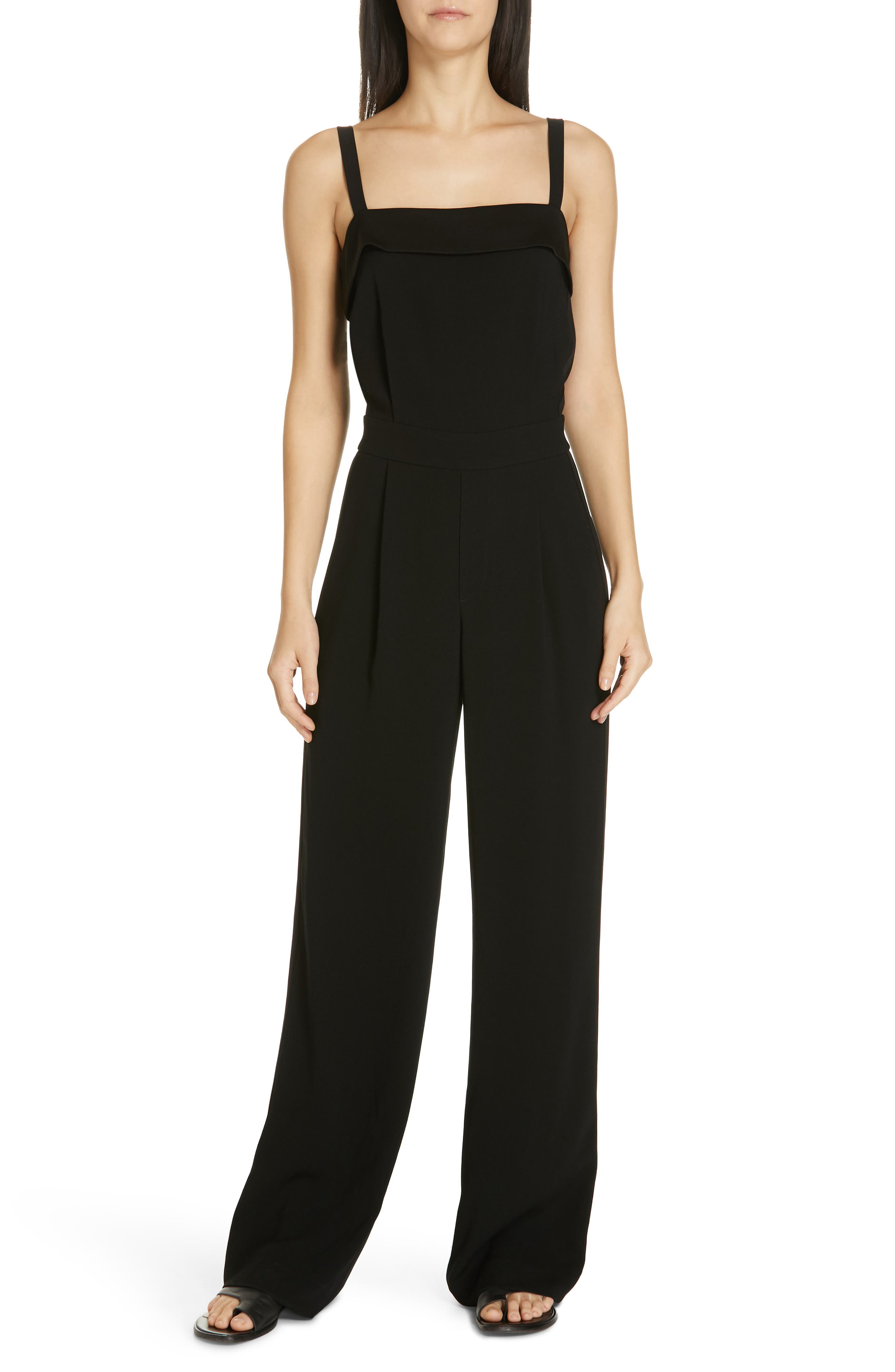 VINCE Sleeveless Tuxedo Jumpsuit, Main, color, BLACK