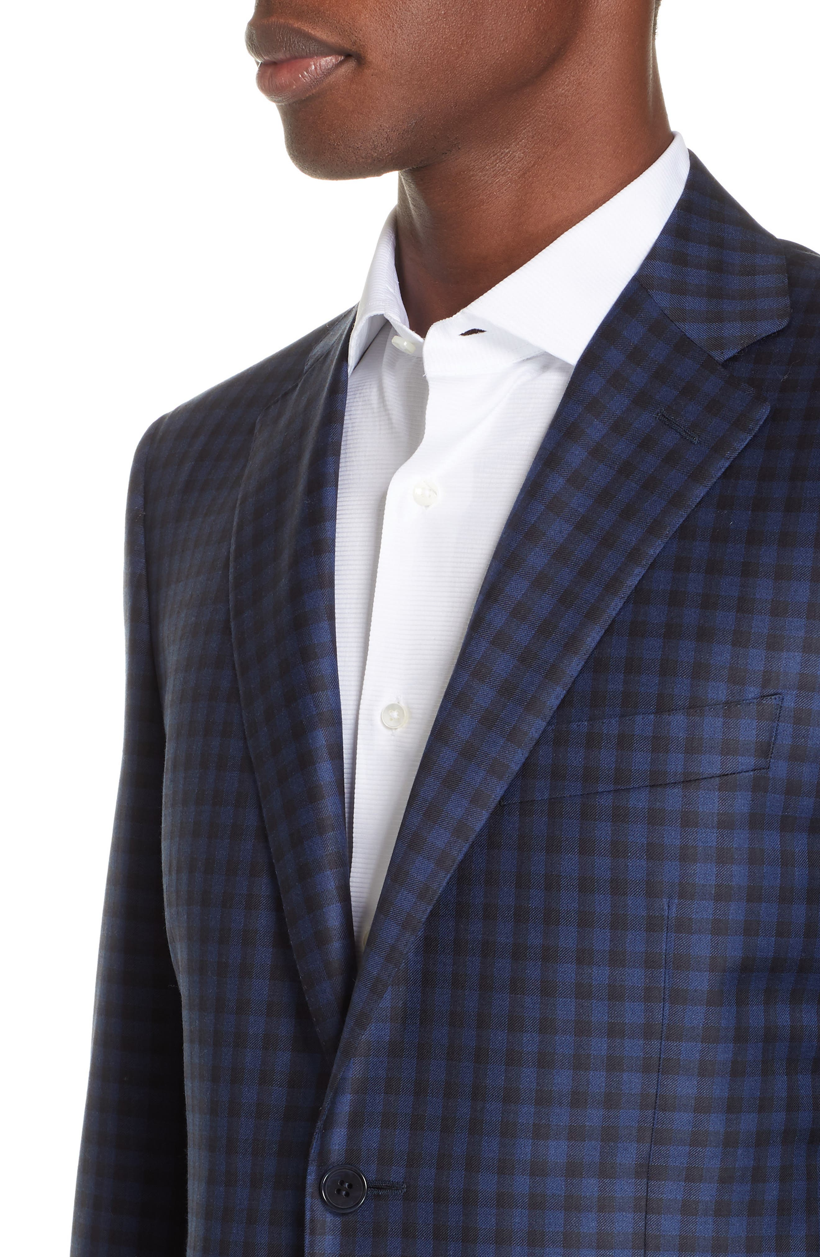 CANALI, Classic Fit Check Wool Sport Coat, Alternate thumbnail 4, color, BLUE