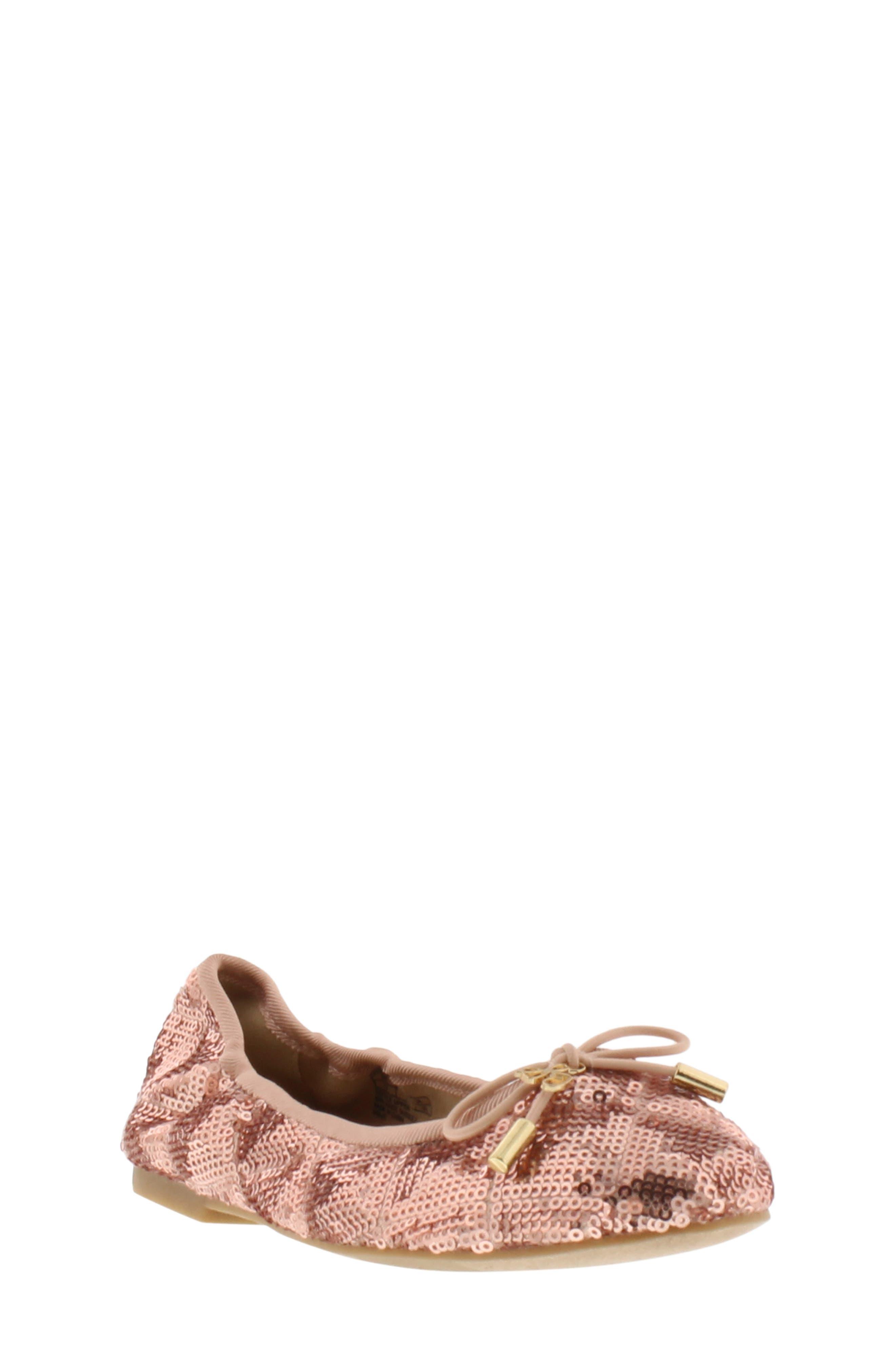 SAM EDELMAN Felicia Sequin Ballet Flat, Main, color, ROSE GOLD