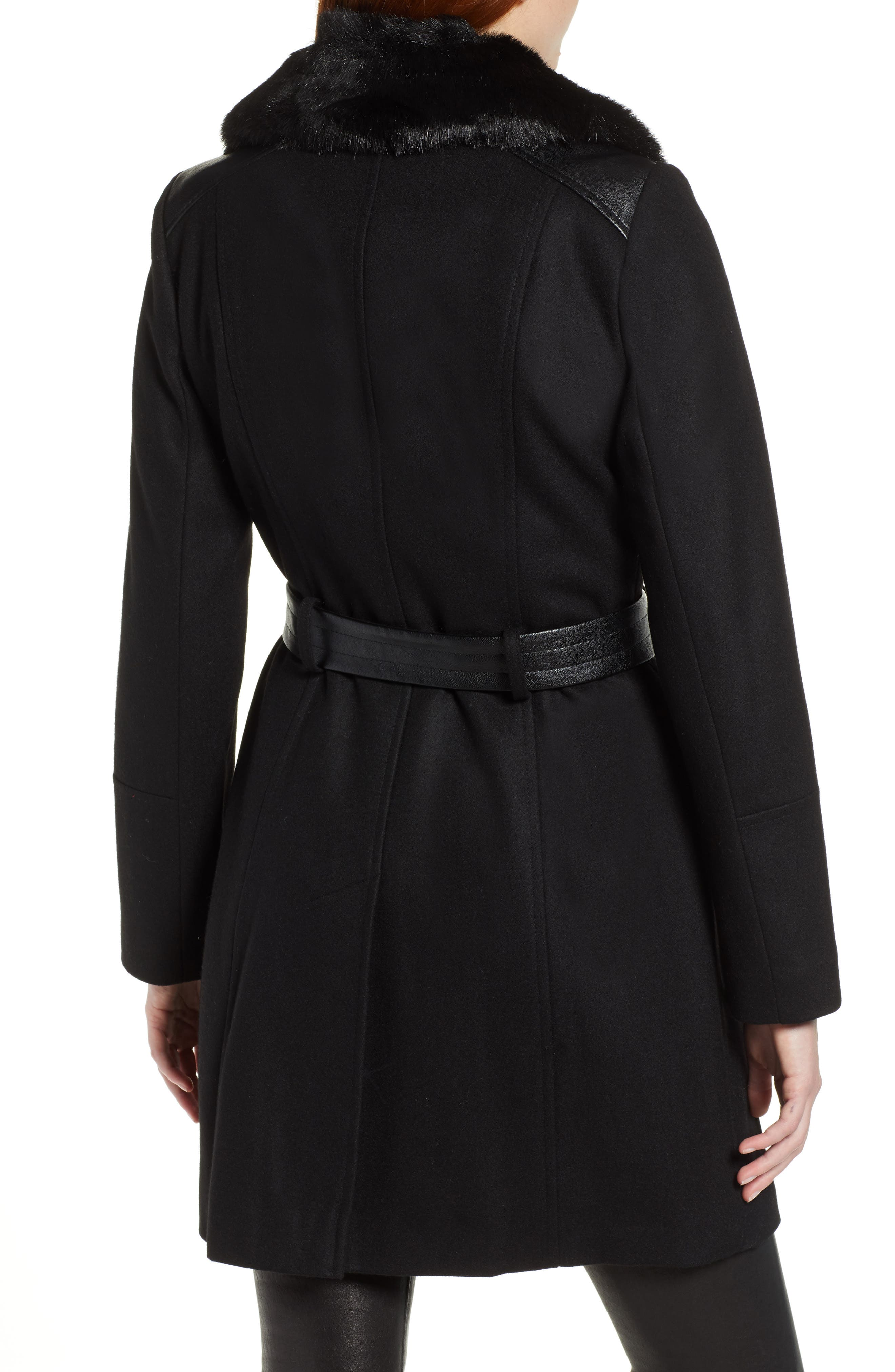 VIA SPIGA, Faux Fur Trim Belted Jacket, Alternate thumbnail 2, color, BLACK