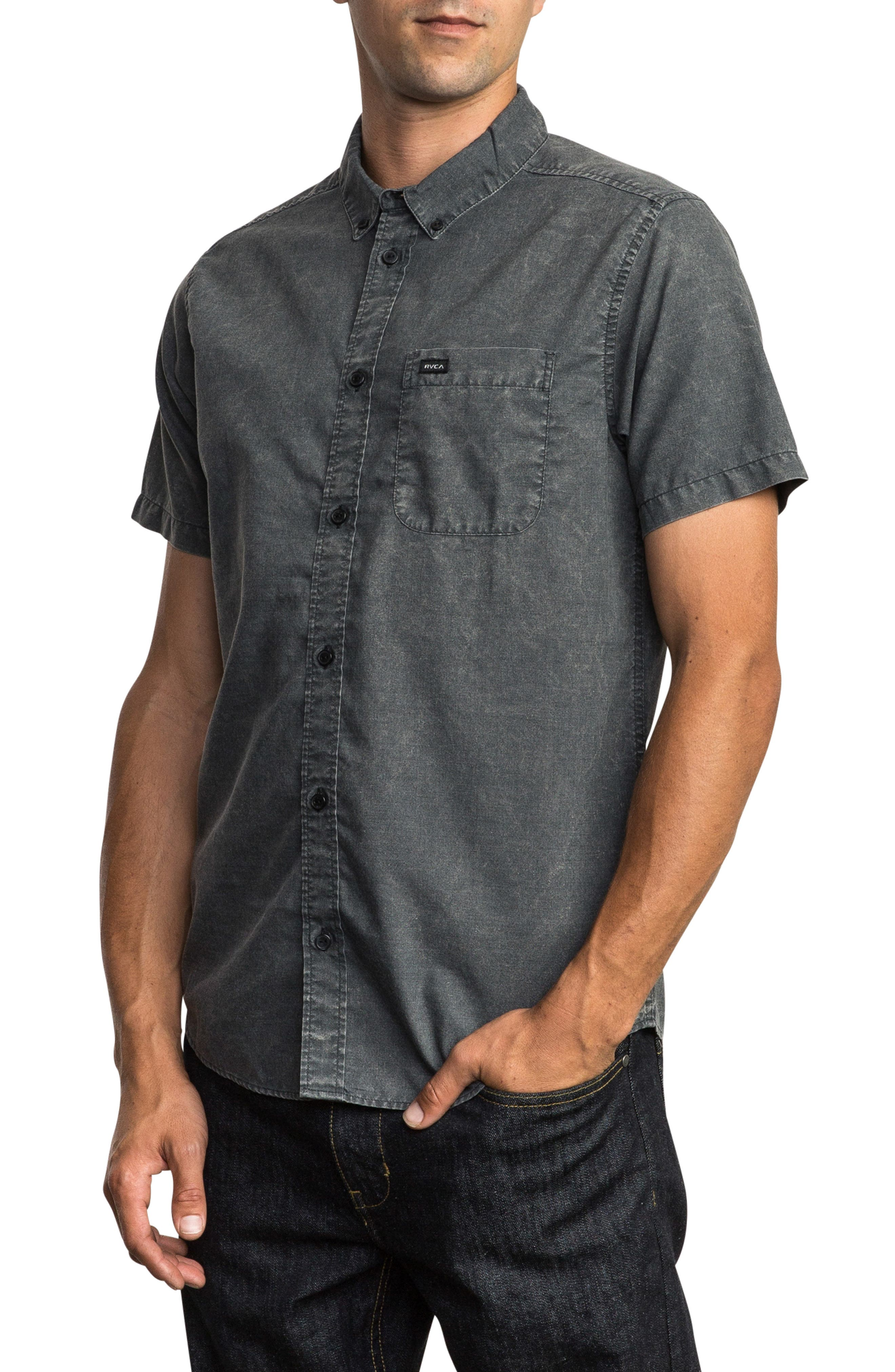 RVCA, That'll Do Chambray Woven Shirt, Alternate thumbnail 3, color, PIRATE BLACK