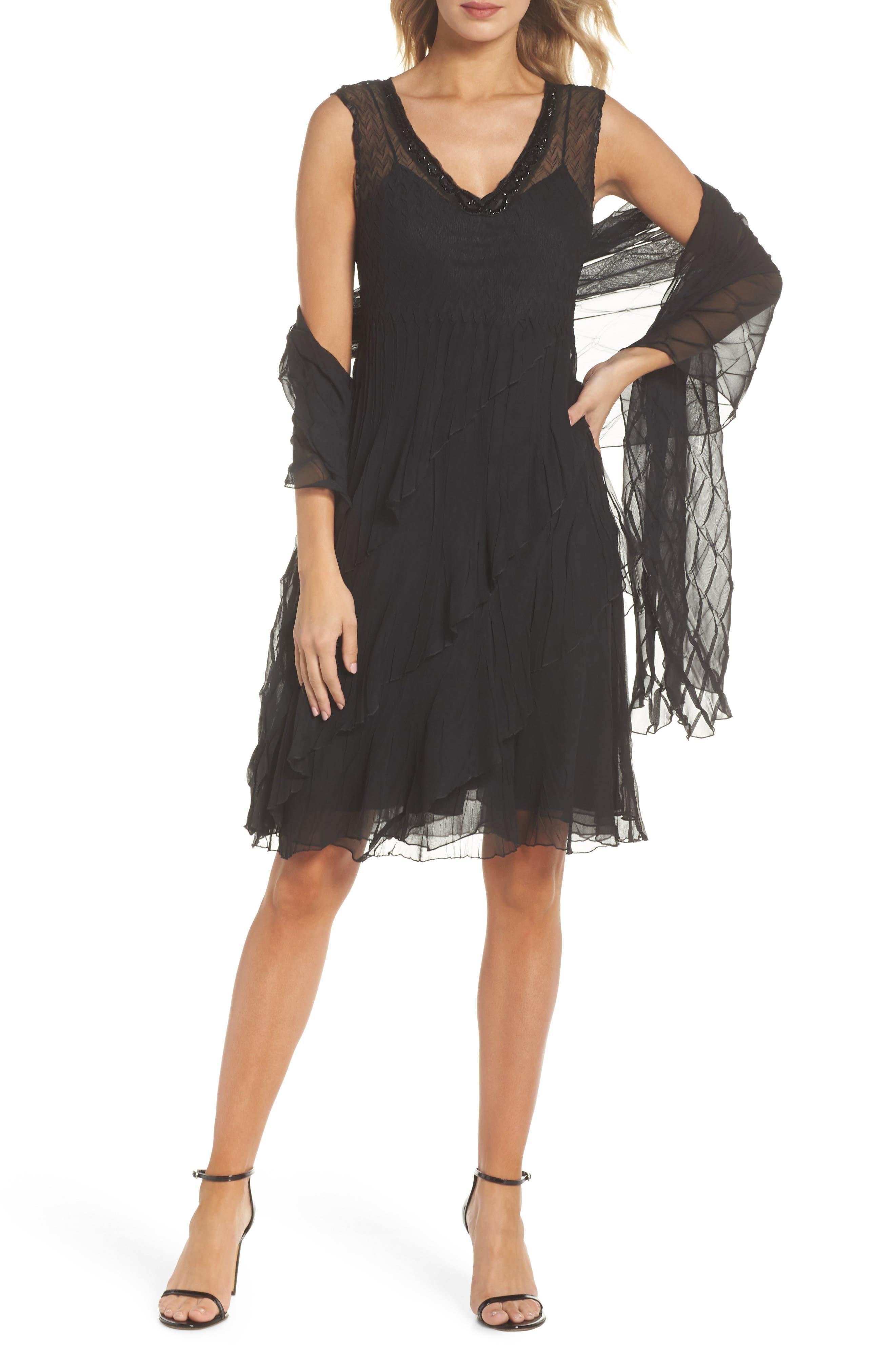 KOMAROV, Bead Trim Chiffon Dress with Wrap, Main thumbnail 1, color, BLACK