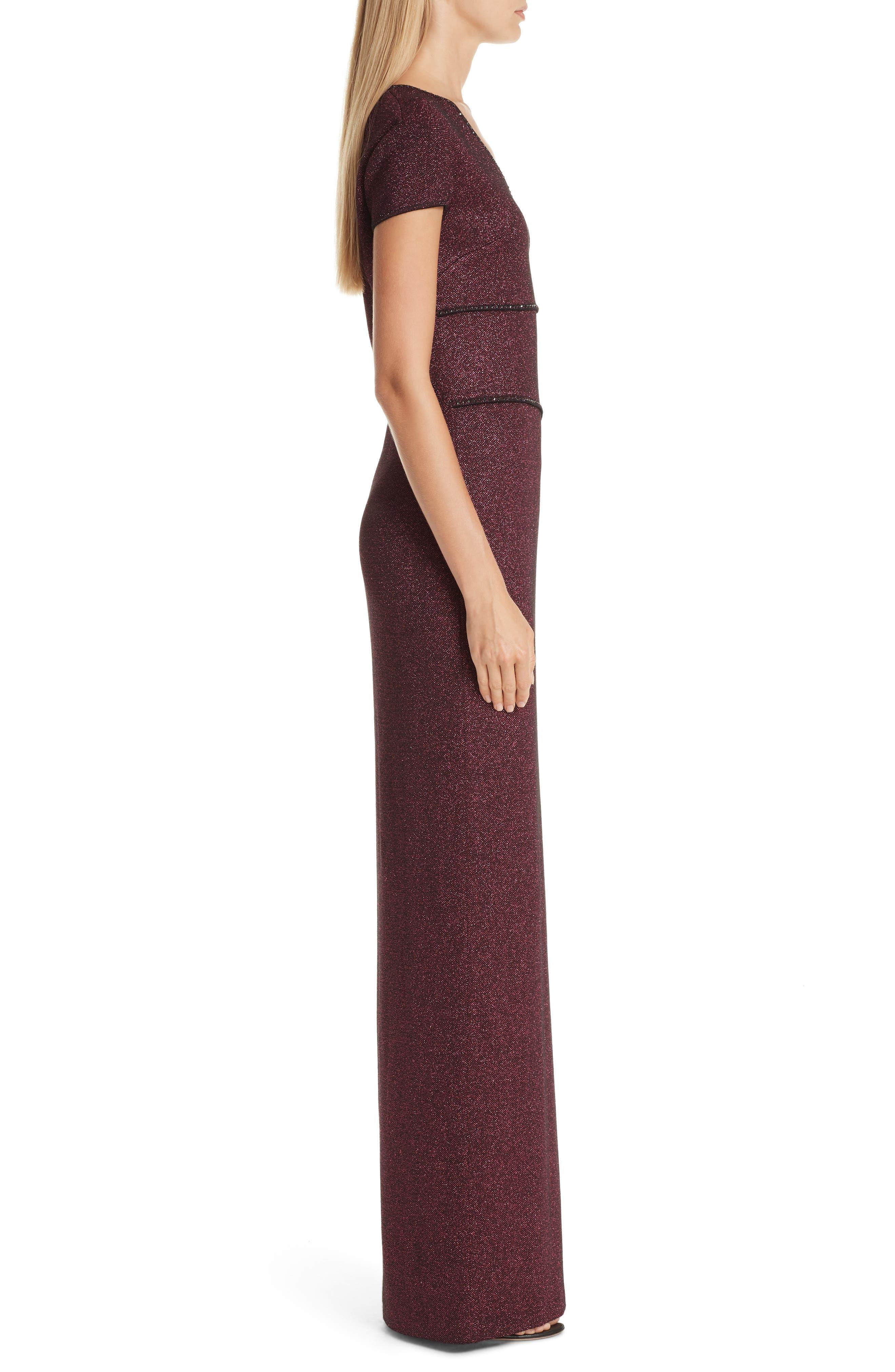 ST. JOHN COLLECTION, Mod Metallic Knit Gown, Alternate thumbnail 3, color, DARK PINK MULTI