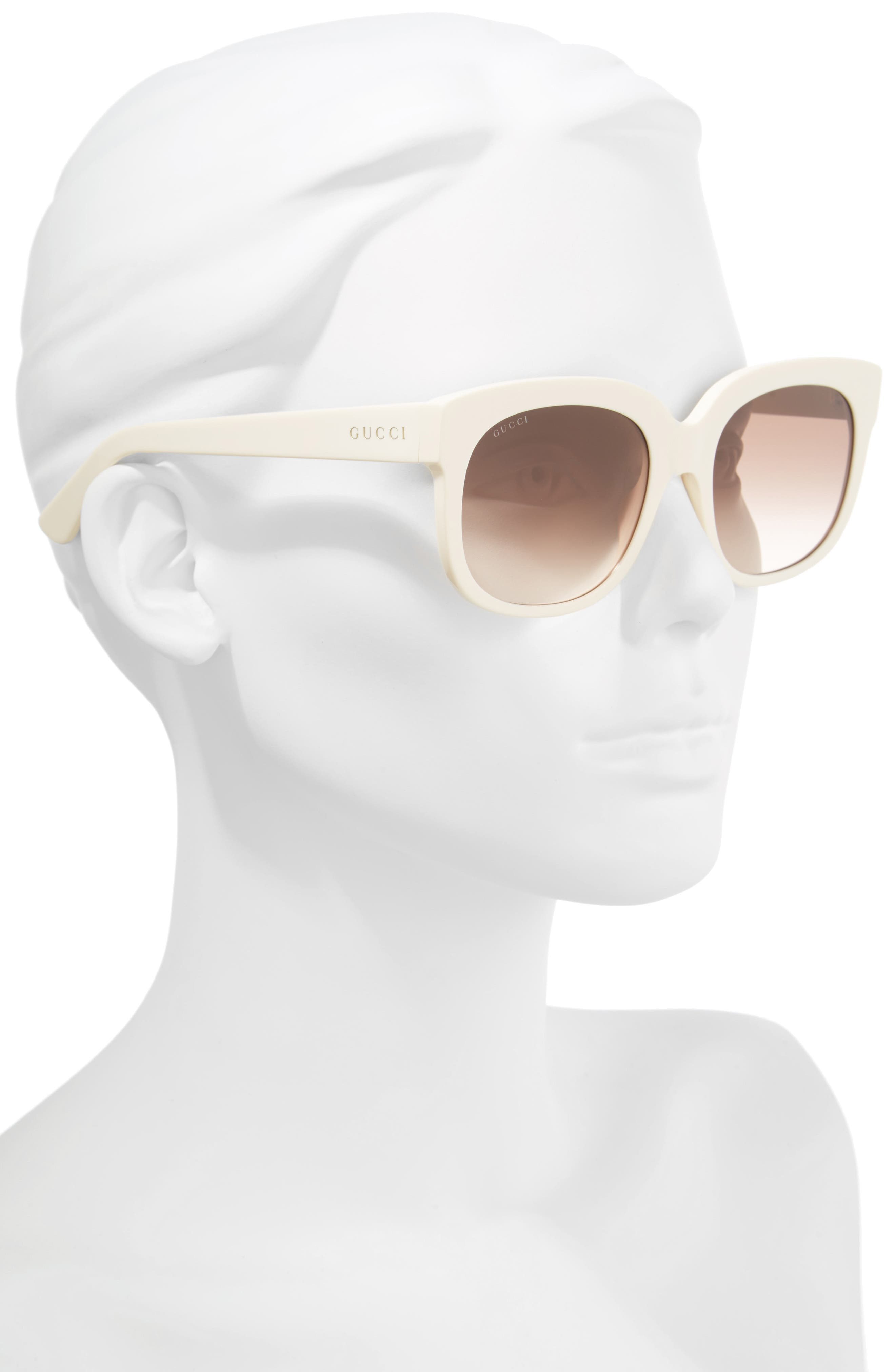 GUCCI, 56mm Gradient Cat Eye Sunglasses, Alternate thumbnail 2, color, IVORY/ BROWN/ PINK