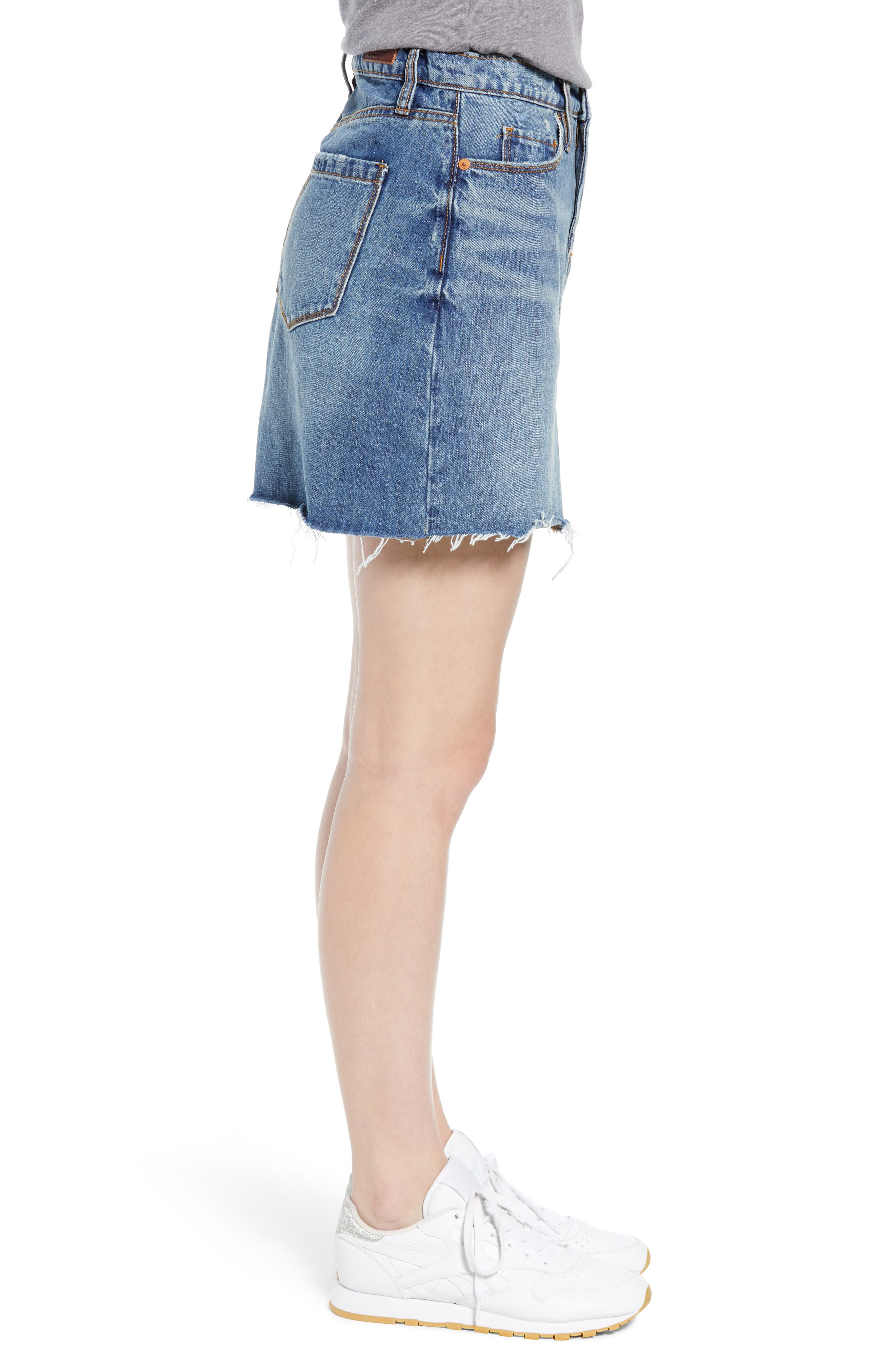 BLANKNYC, Way Back When Cutoff Denim Skirt, Alternate thumbnail 4, color, 400
