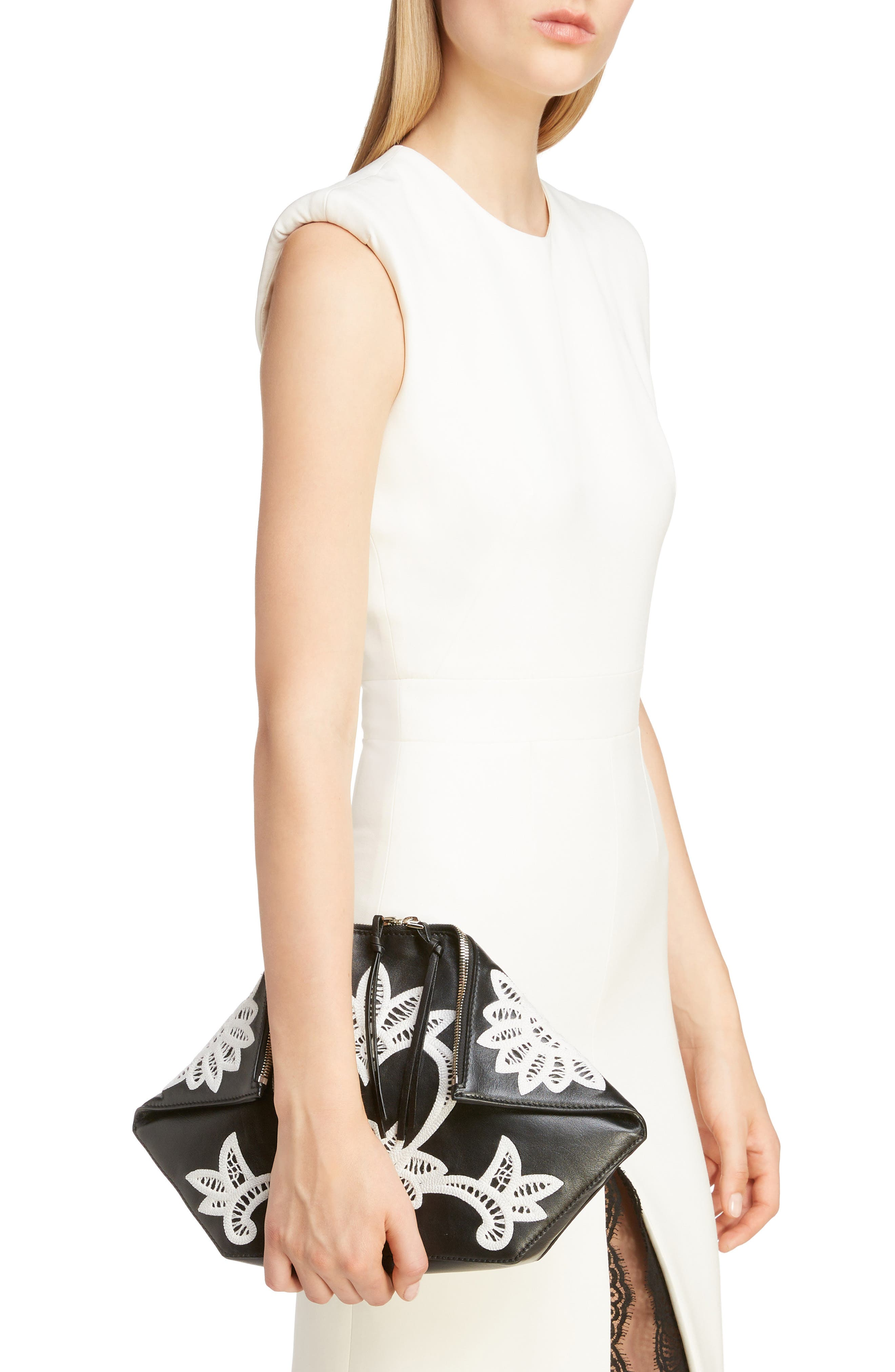 ALEXANDER MCQUEEN, Embroidered Leather Butterfly Pouch, Alternate thumbnail 2, color, BLACK/ IVORY