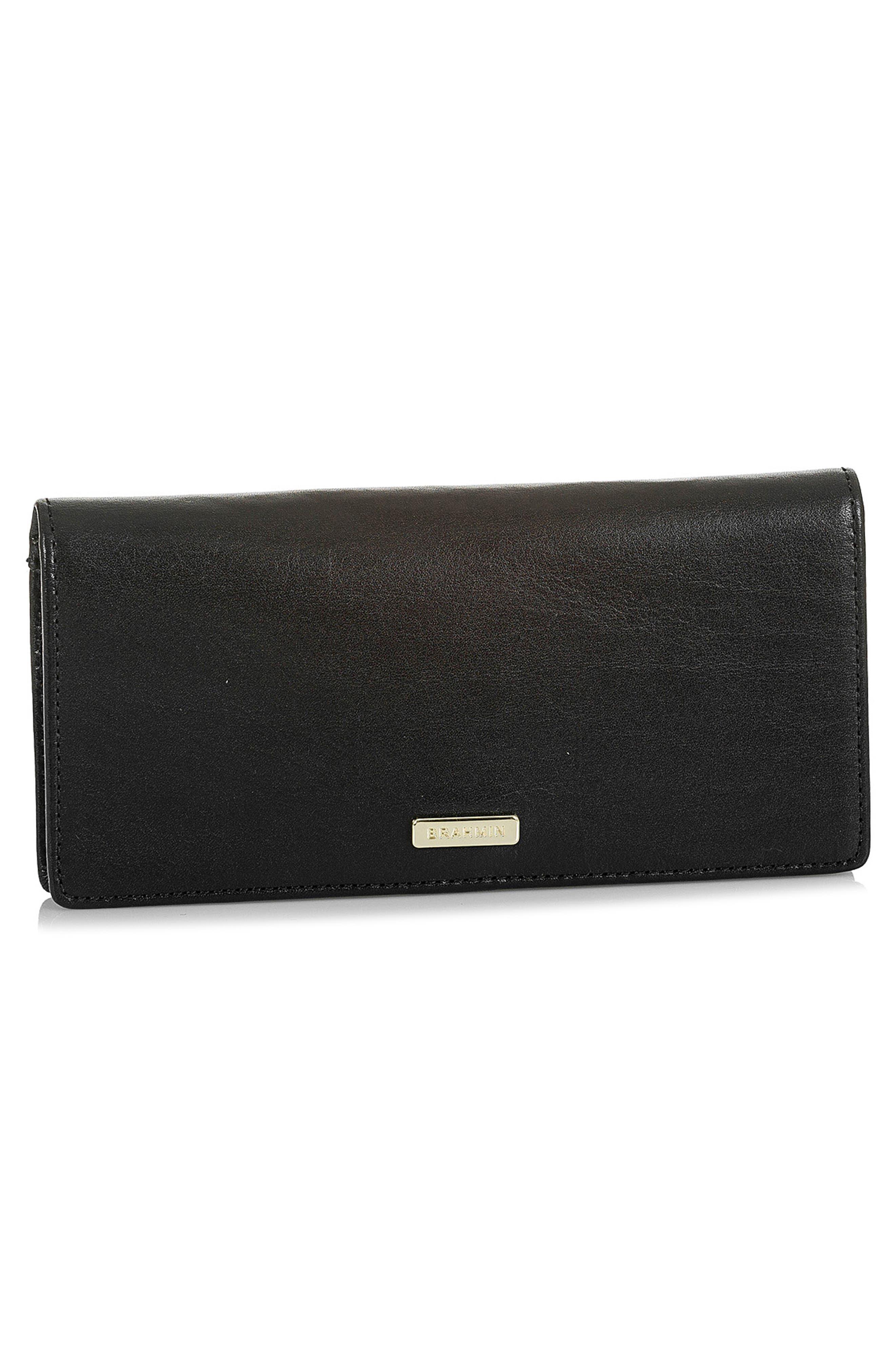 BRAHMIN, Ady Leather Wallet, Alternate thumbnail 4, color, 001