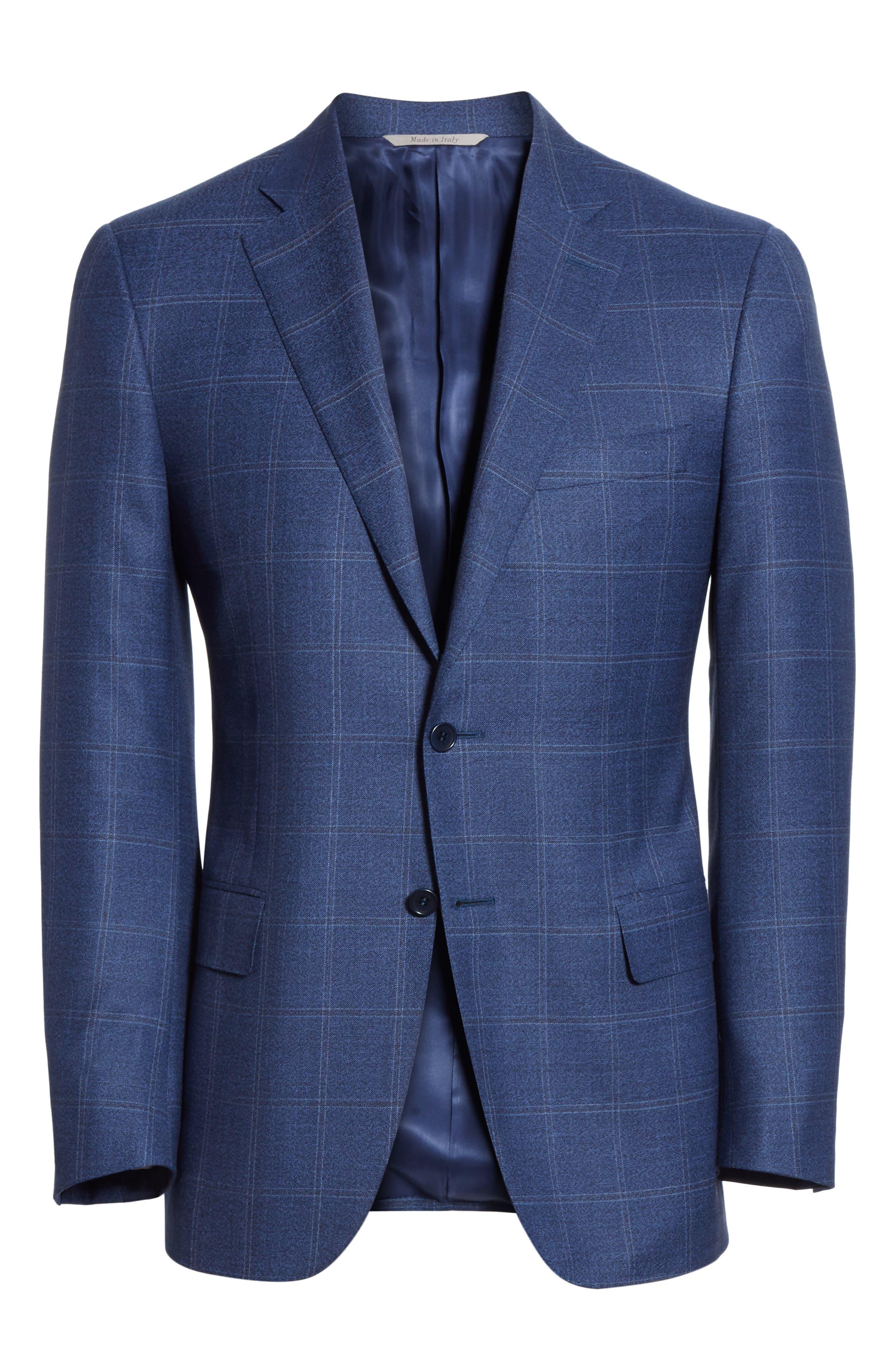 CANALI, Siena Classic Fit Plaid Wool Sport Coat, Alternate thumbnail 5, color, BLUE