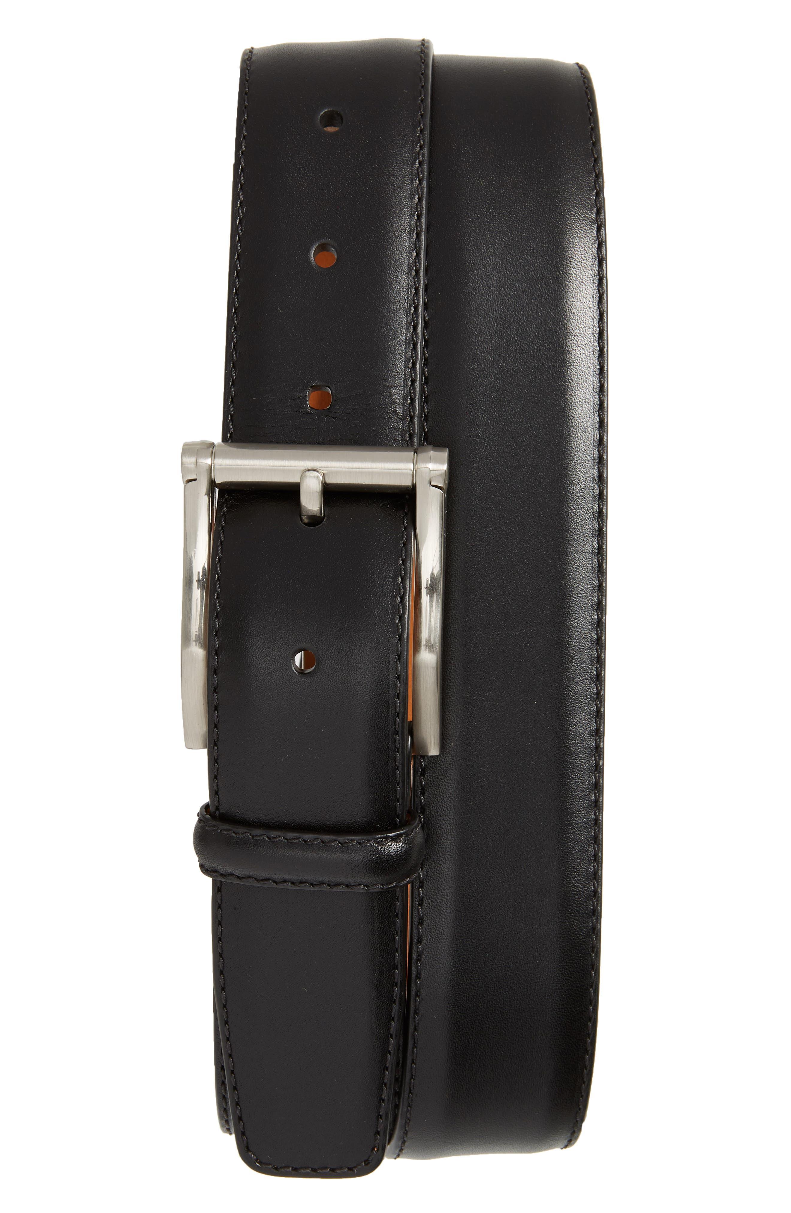 MAGNANNI, Carbon Leather Belt, Main thumbnail 1, color, BLACK