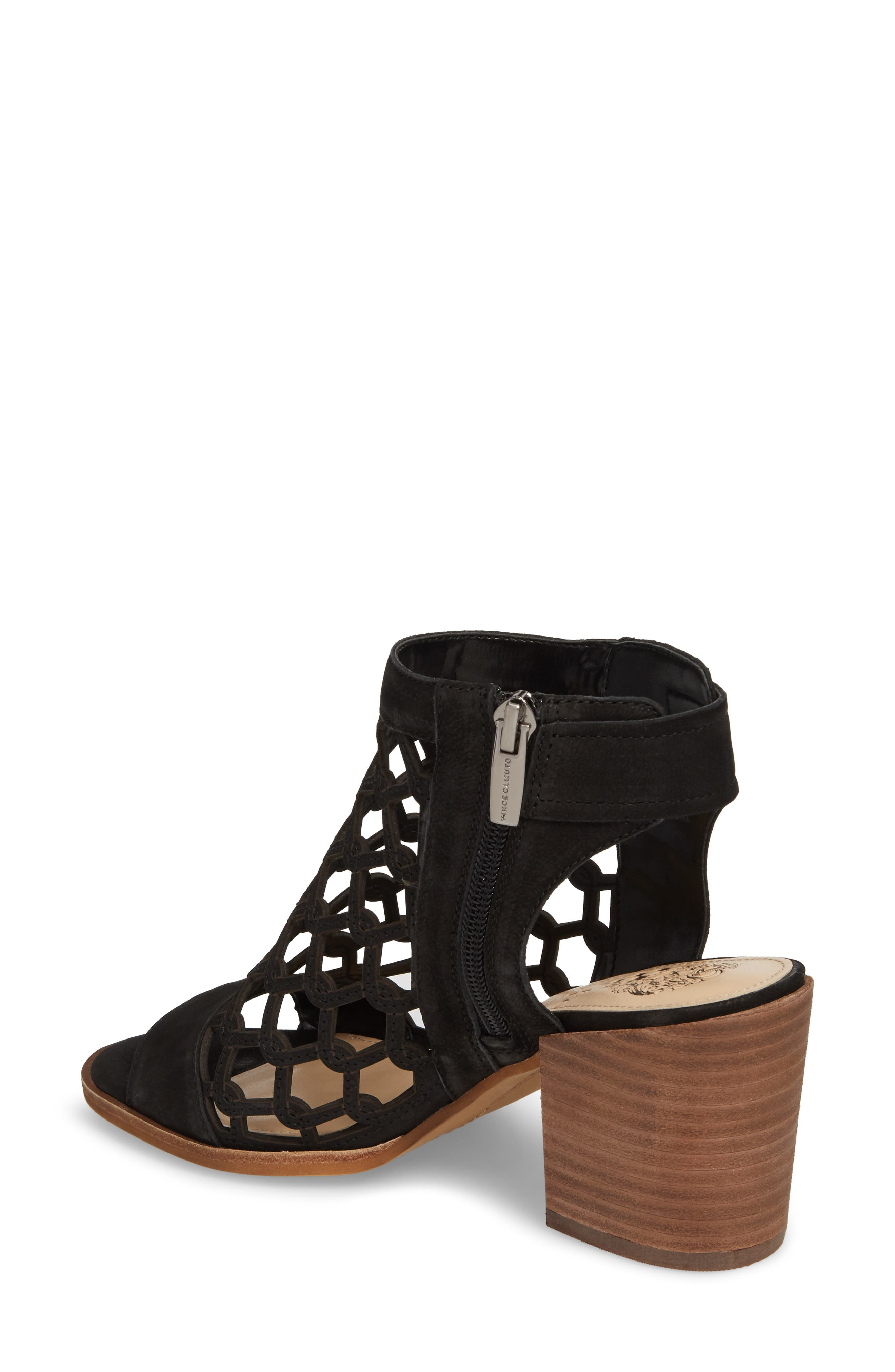 VINCE CAMUTO, Lanaira Sandal, Alternate thumbnail 2, color, BLACK LEATHER
