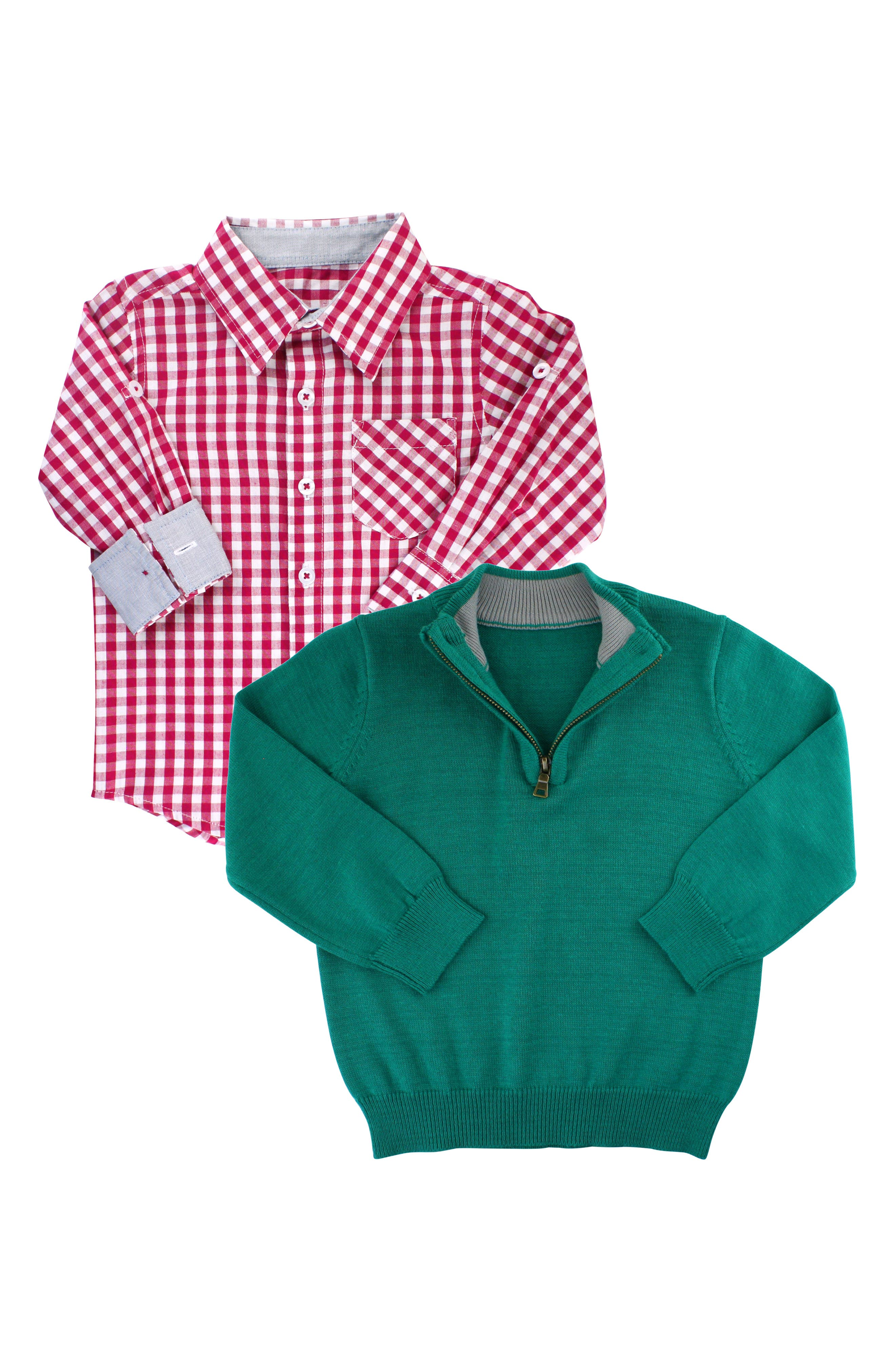 RUGGEDBUTTS, Gingham Shirt & Pullover Sweater Set, Main thumbnail 1, color, 300