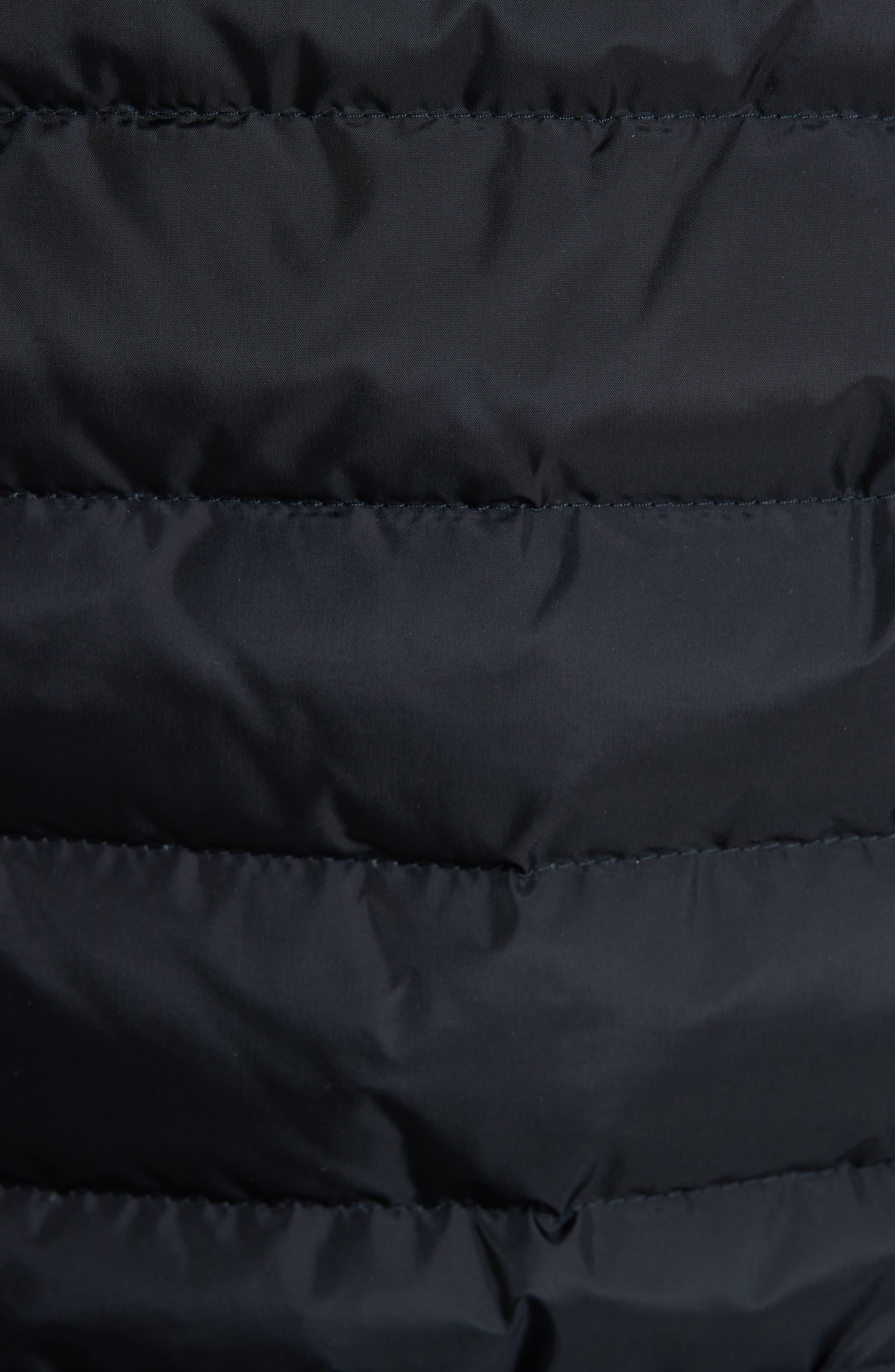 MONCLER, Beverley Genuine Fox Fur Trim Quilted Down Coat, Alternate thumbnail 6, color, 001