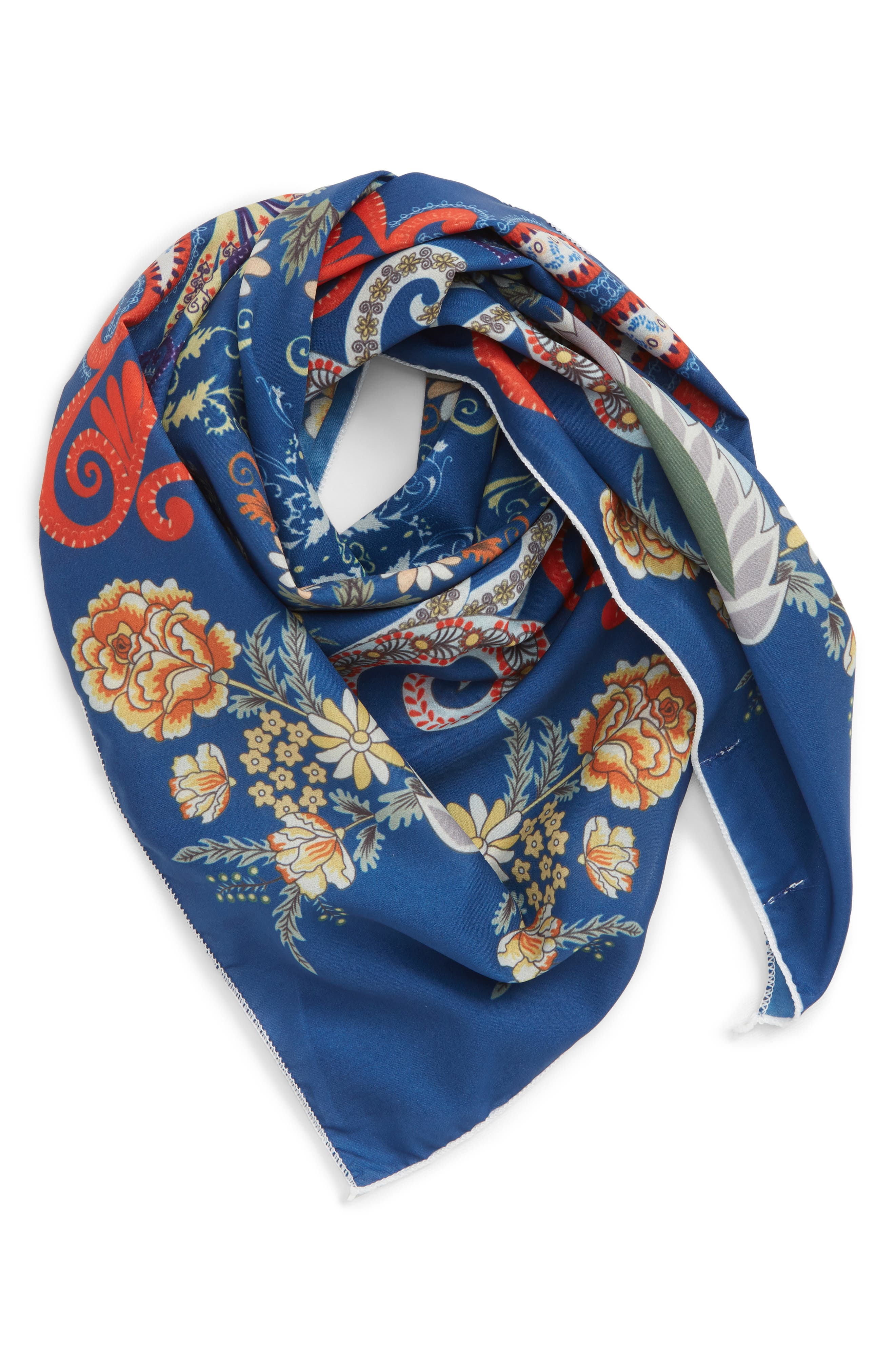SOLE SOCIETY, Floral Print Neckerchief, Main thumbnail 1, color, 400