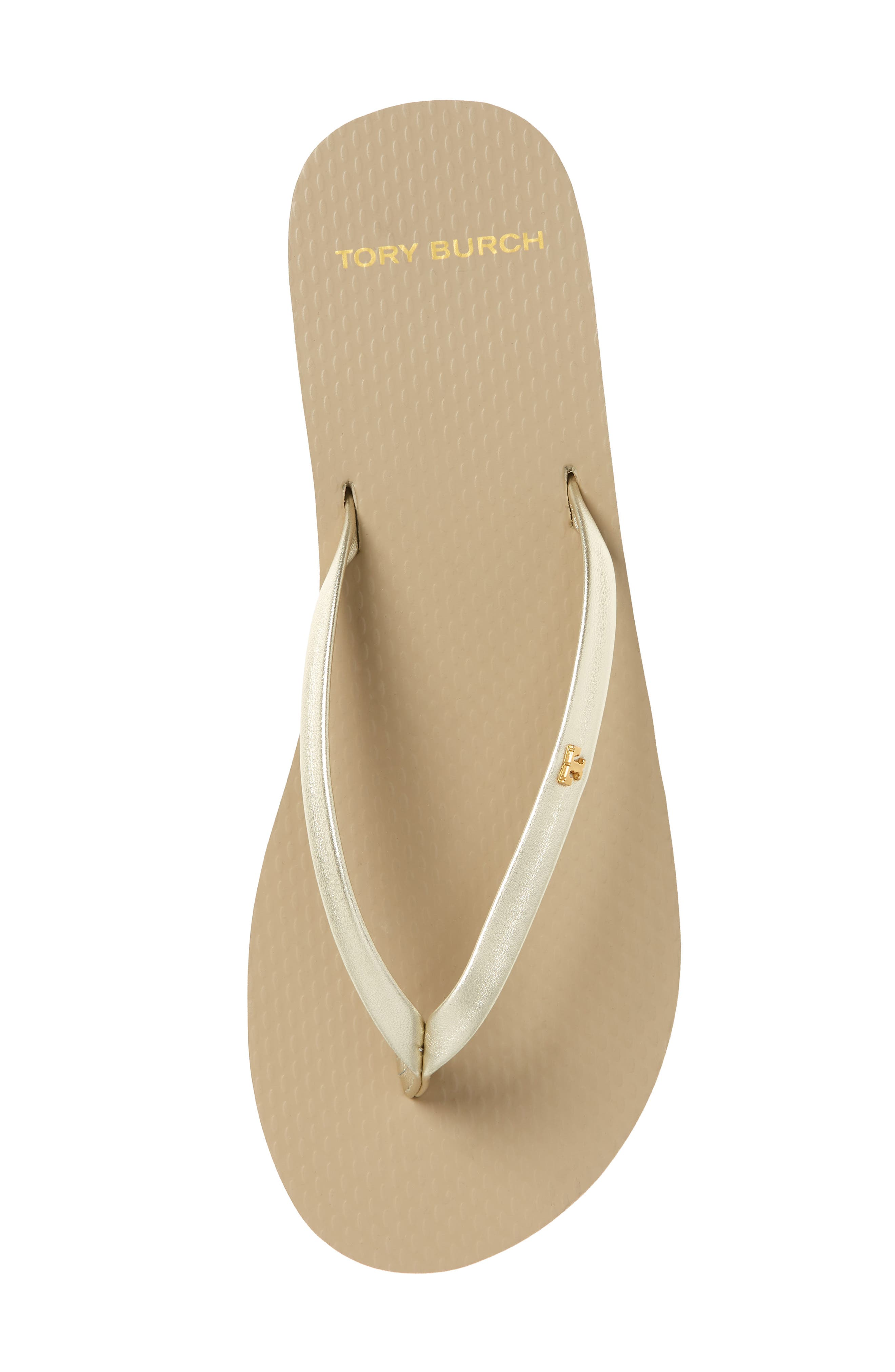 TORY BURCH, Logo Metallic Flip Flop, Alternate thumbnail 5, color, SPARK GOLD/ LIGHT TAUPE