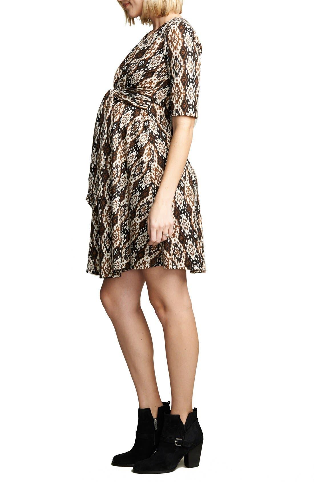 MATERNAL AMERICA, Print Tie Front Maternity Dress, Alternate thumbnail 2, color, IKAT PRINT