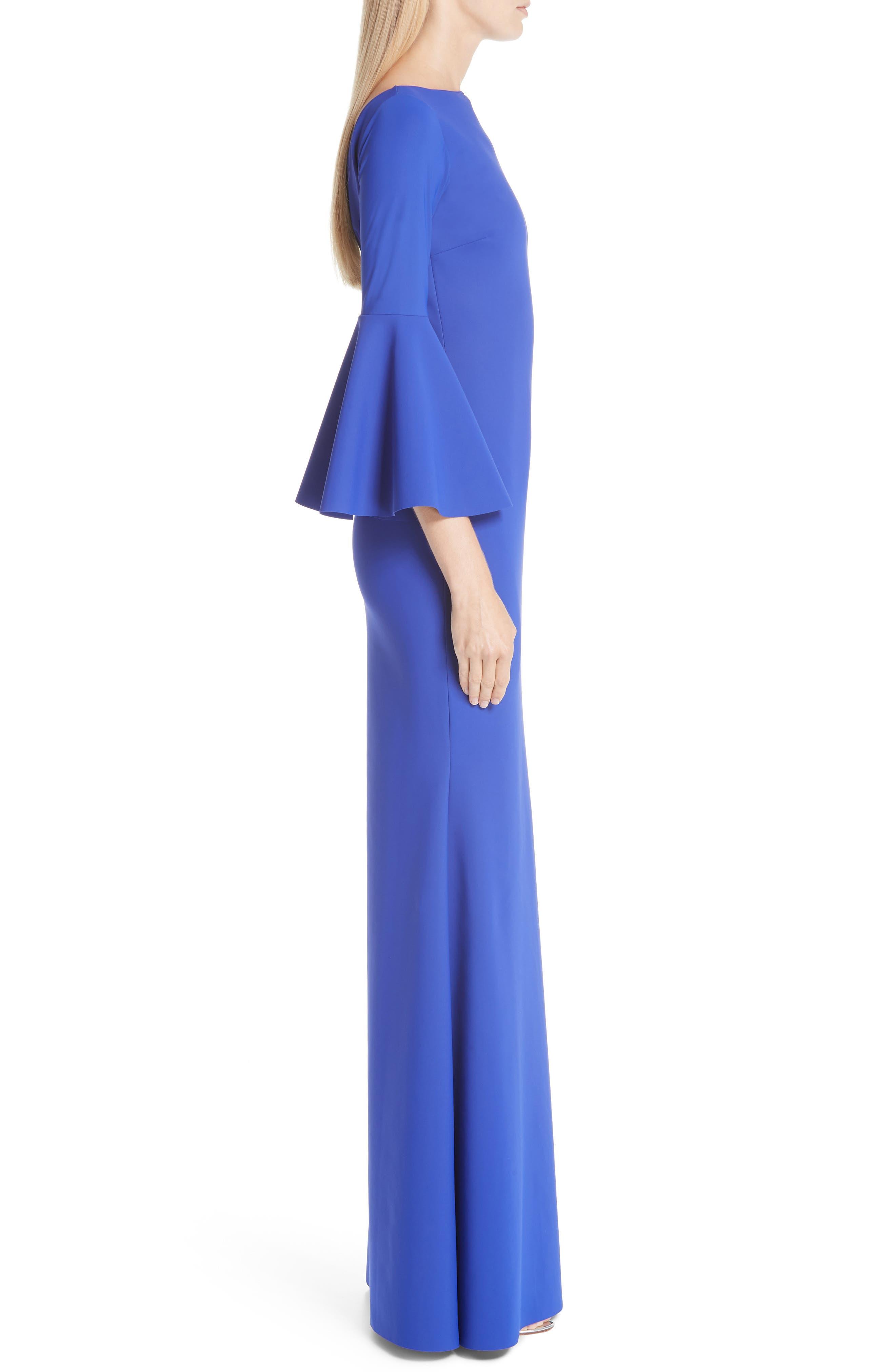 CHIARA BONI LA PETITE ROBE, Iva Bell Sleeve Evening Dress, Alternate thumbnail 5, color, INCHIOSTRO