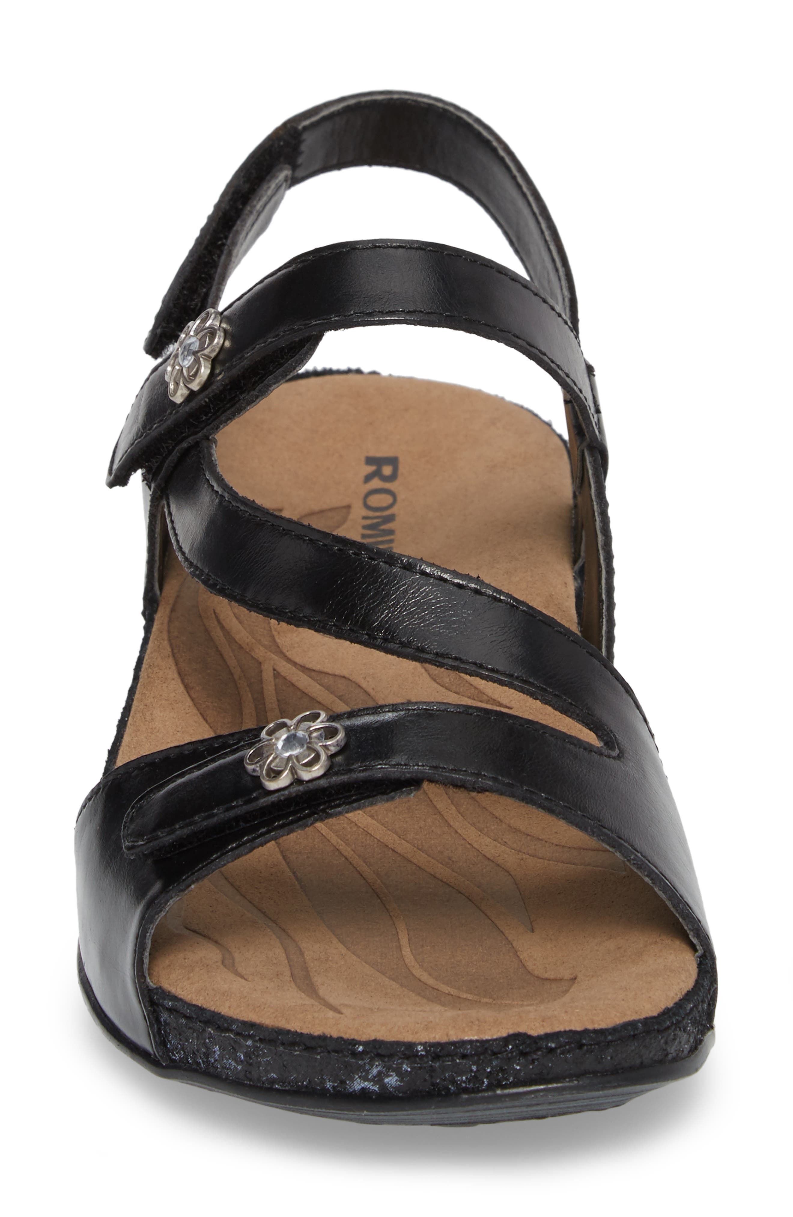 ROMIKA<SUP>®</SUP>, Fidschi 54 Sandal, Alternate thumbnail 4, color, BLACK LEATHER