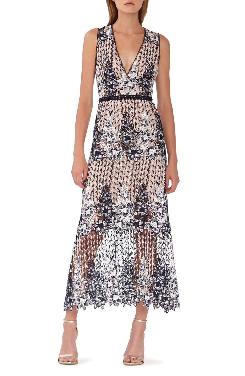 Ml Monique Lhuillier Dresses TWO TONE LACE TEA LENGTH DRESS