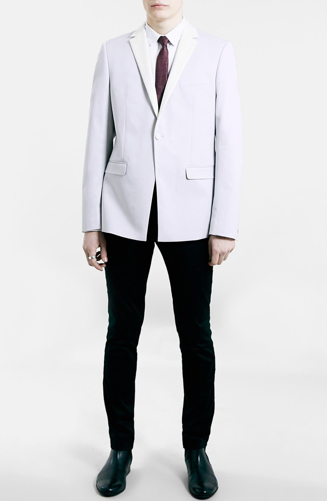 TOPMAN, Slim Fit Off White Tuxedo Jacket, Alternate thumbnail 4, color, 900
