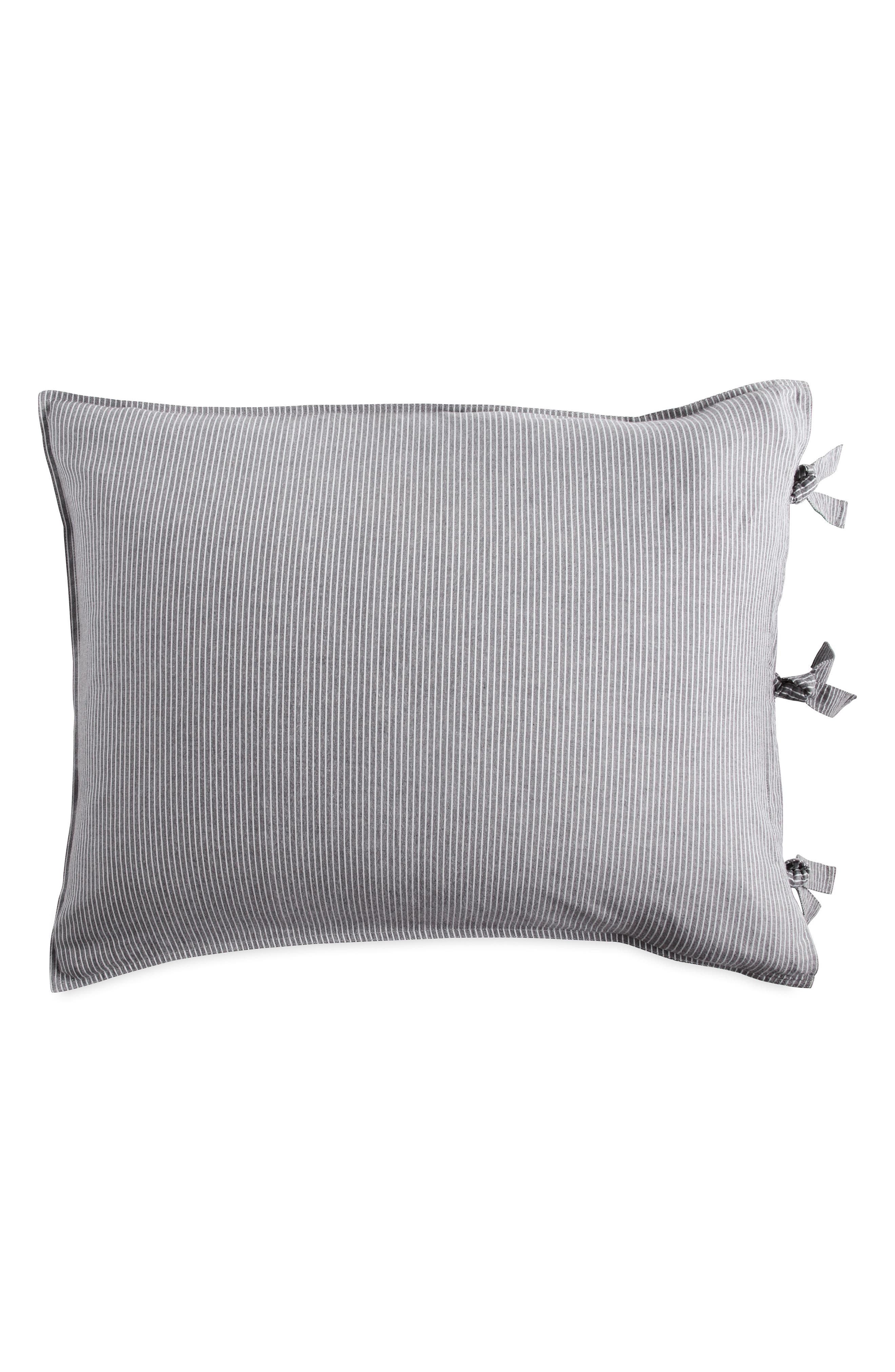 DKNY, PURE Stripe Pillow Sham, Main thumbnail 1, color, GREY