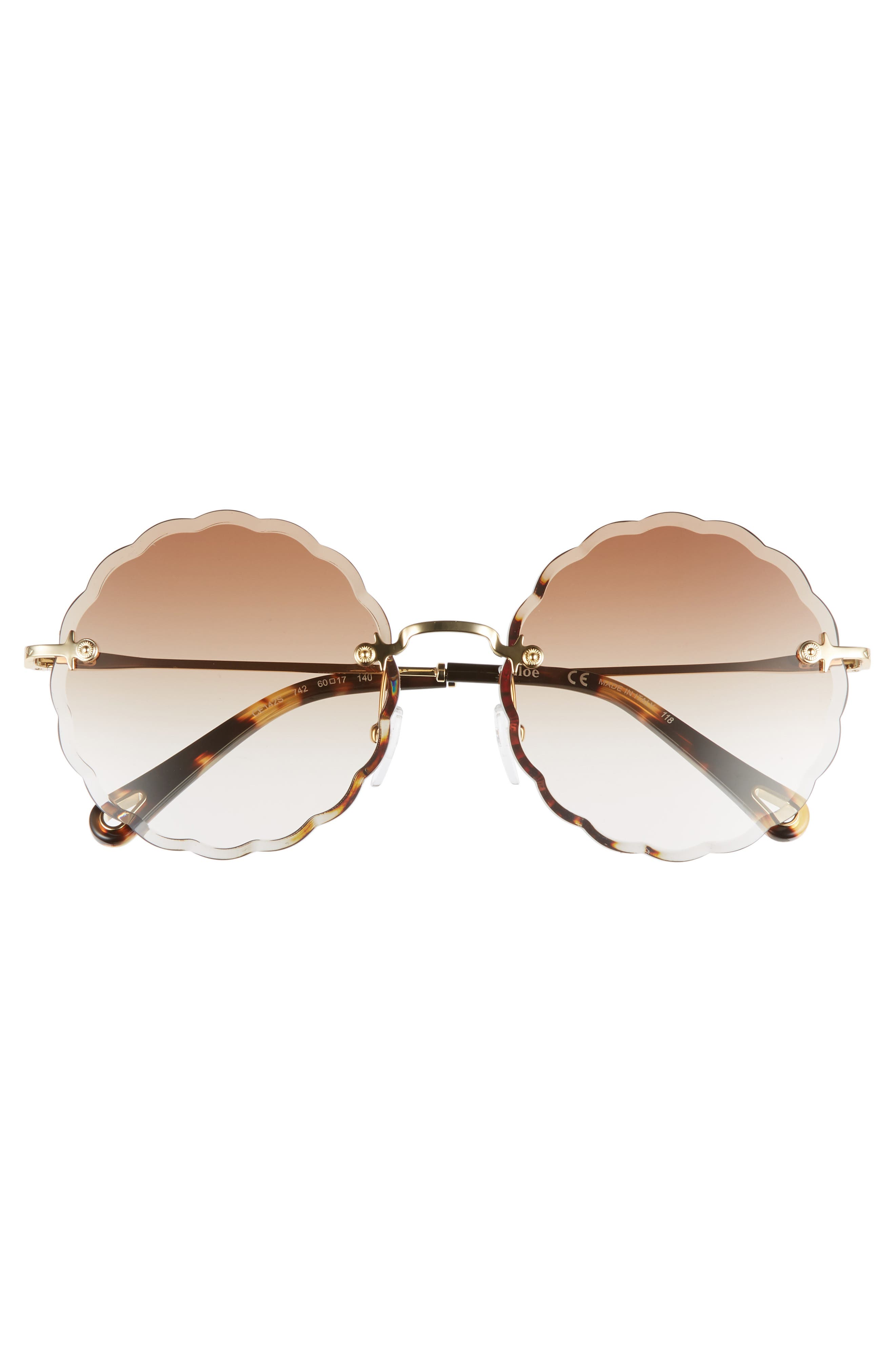 CHLOÉ, Rosie 60mm Scalloped Rimless Sunglasses, Alternate thumbnail 3, color, GOLD/ GRADIENT BROWN
