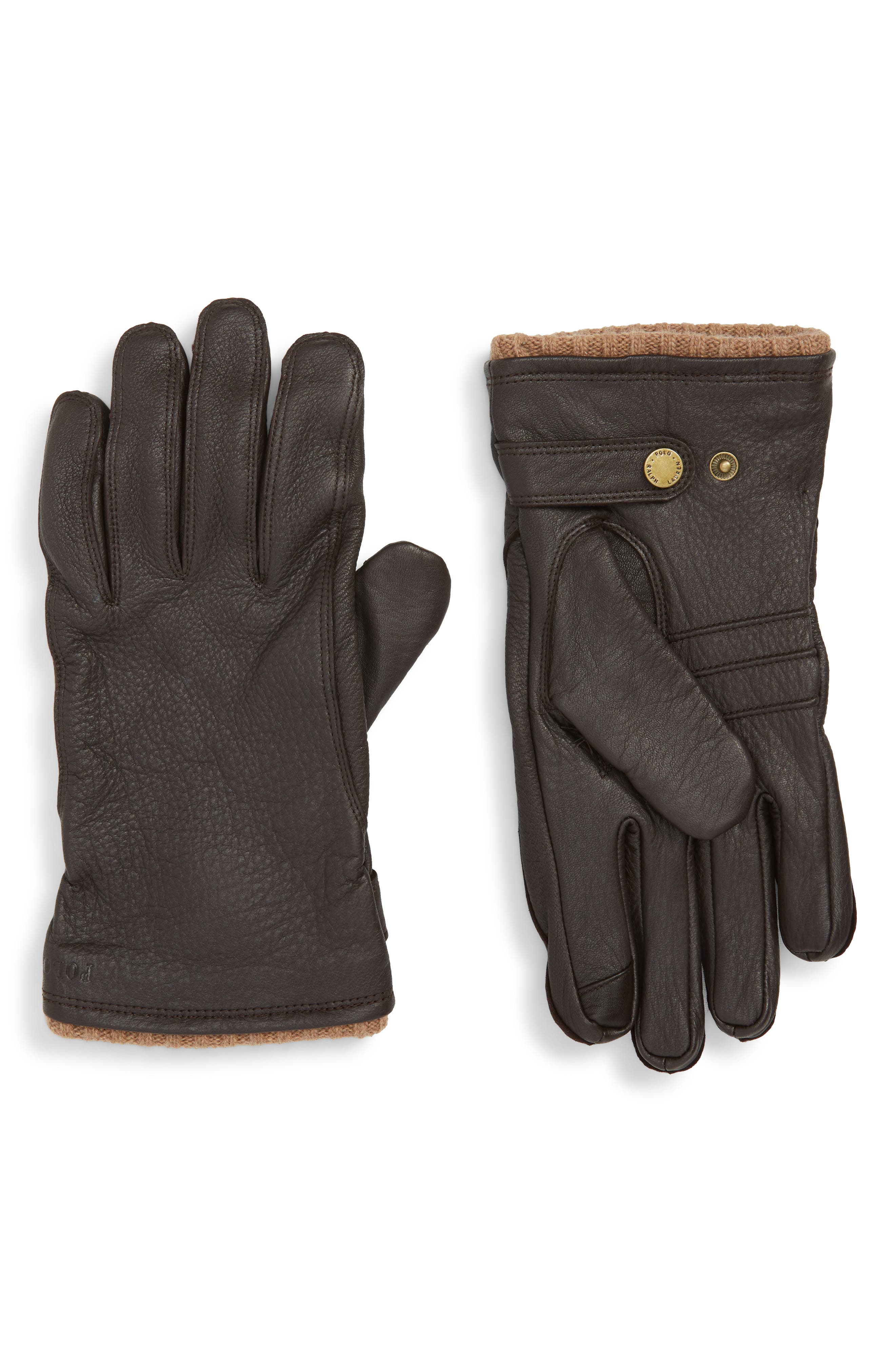 POLO RALPH LAUREN, Deerskin Gloves, Main thumbnail 1, color, CIRCUIT BROWN