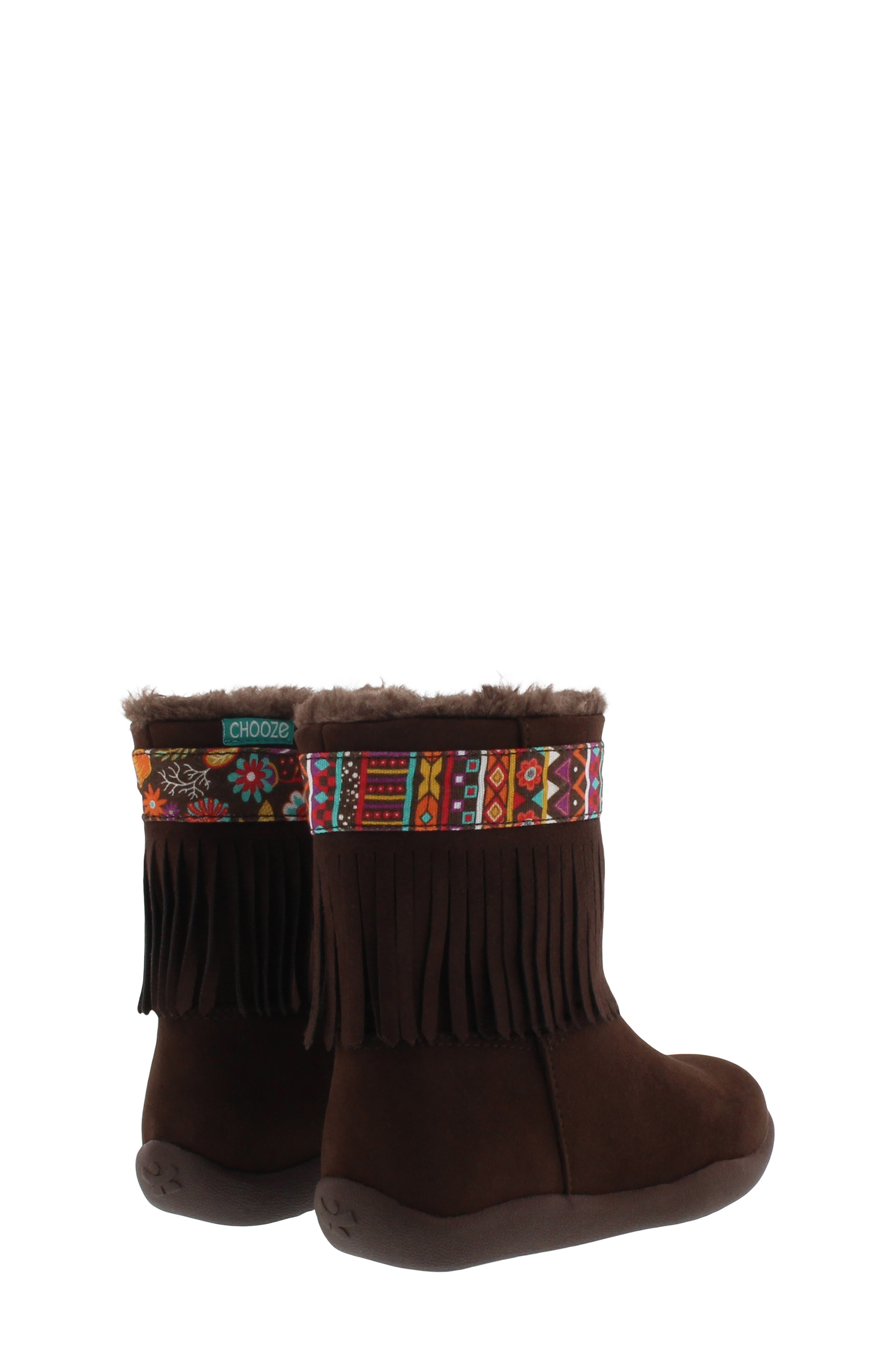 CHOOZE, Faux Fur Fringed Hope Bootie, Alternate thumbnail 2, color, BROWN