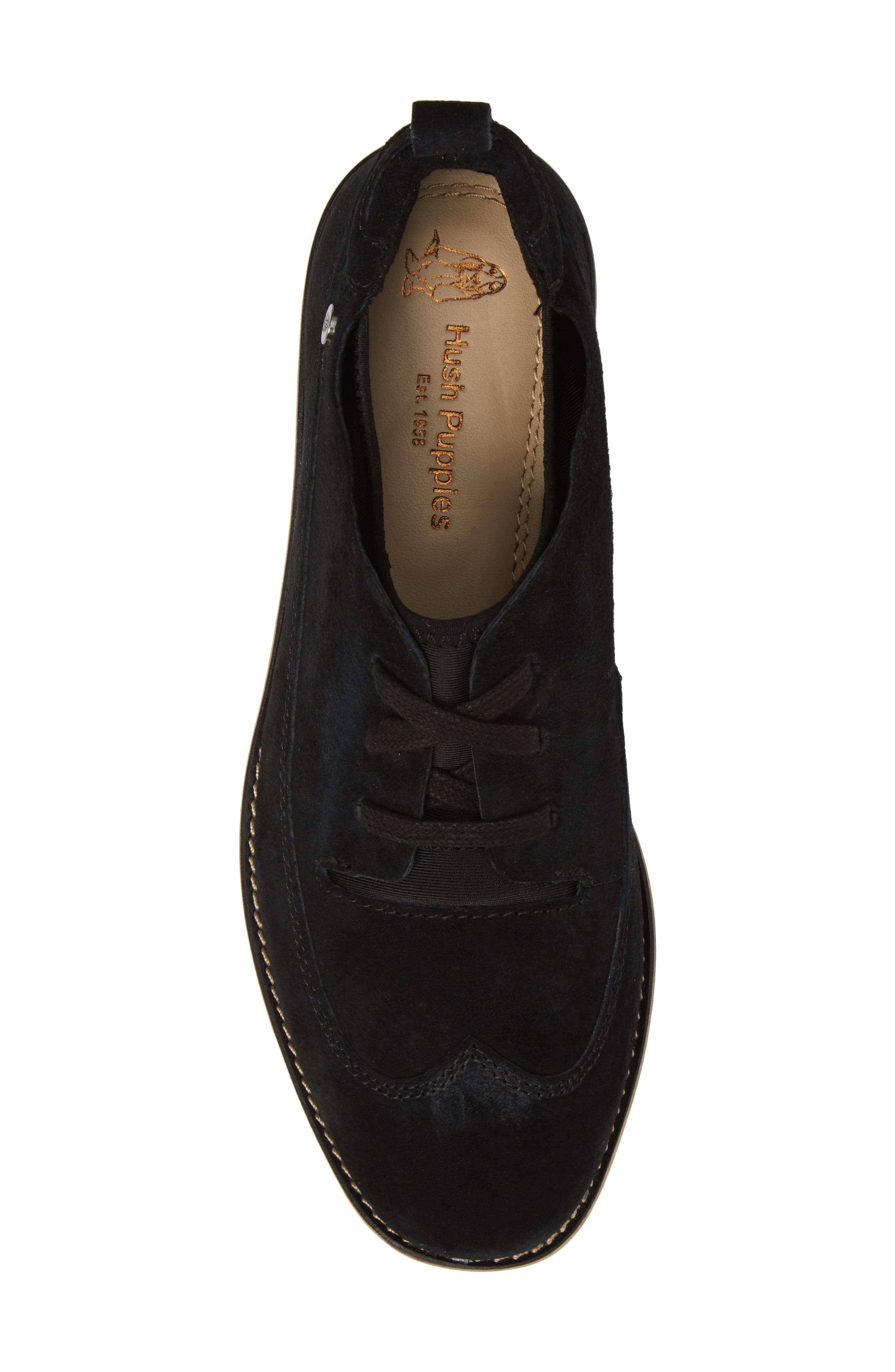 HUSH PUPPIES<SUP>®</SUP>, Chowchow Oxford, Alternate thumbnail 5, color, BLACK SUEDE