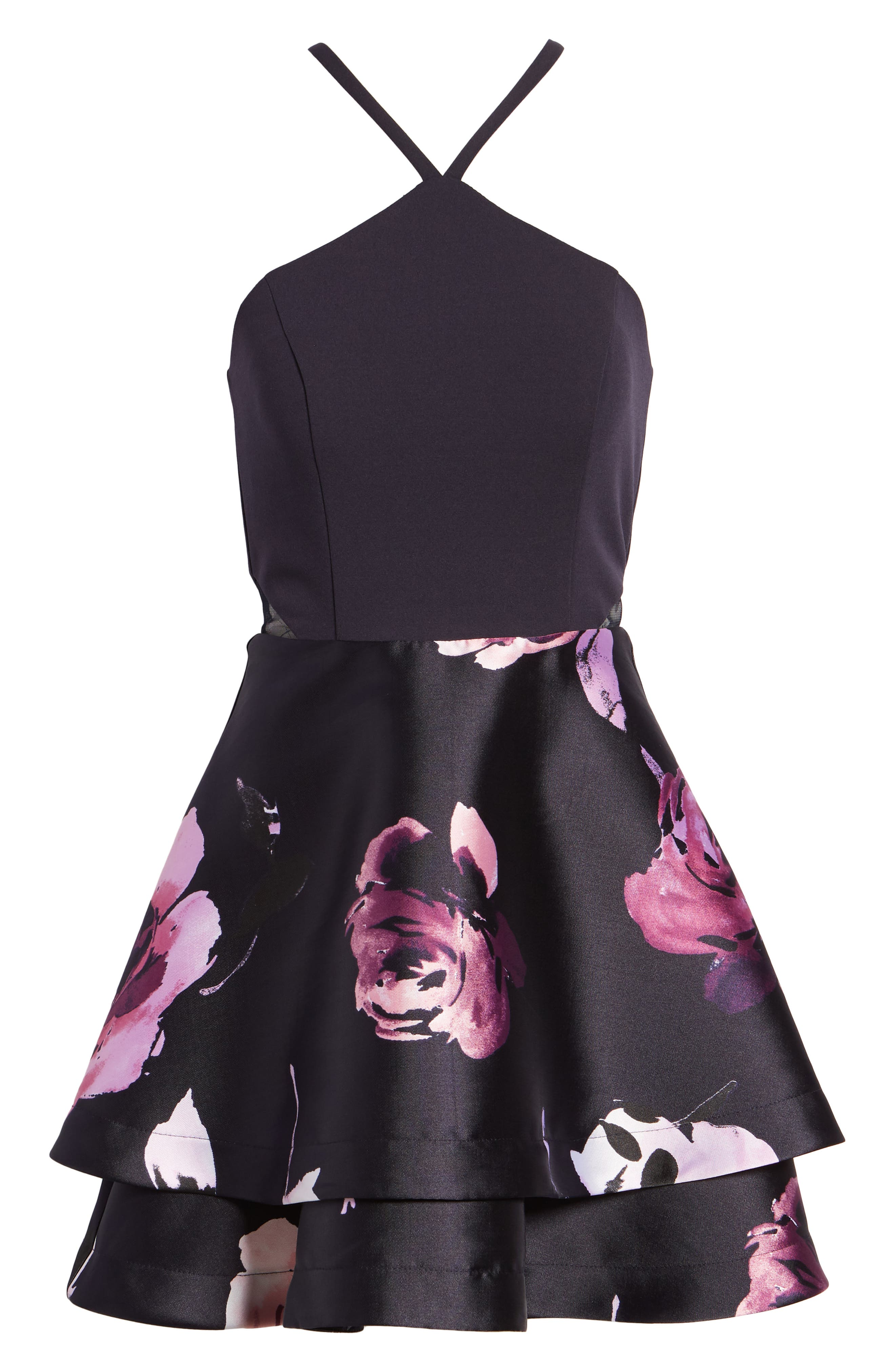 SPEECHLESS, Floral Fit & Flare Dress, Alternate thumbnail 7, color, NAVY/ BLUSH