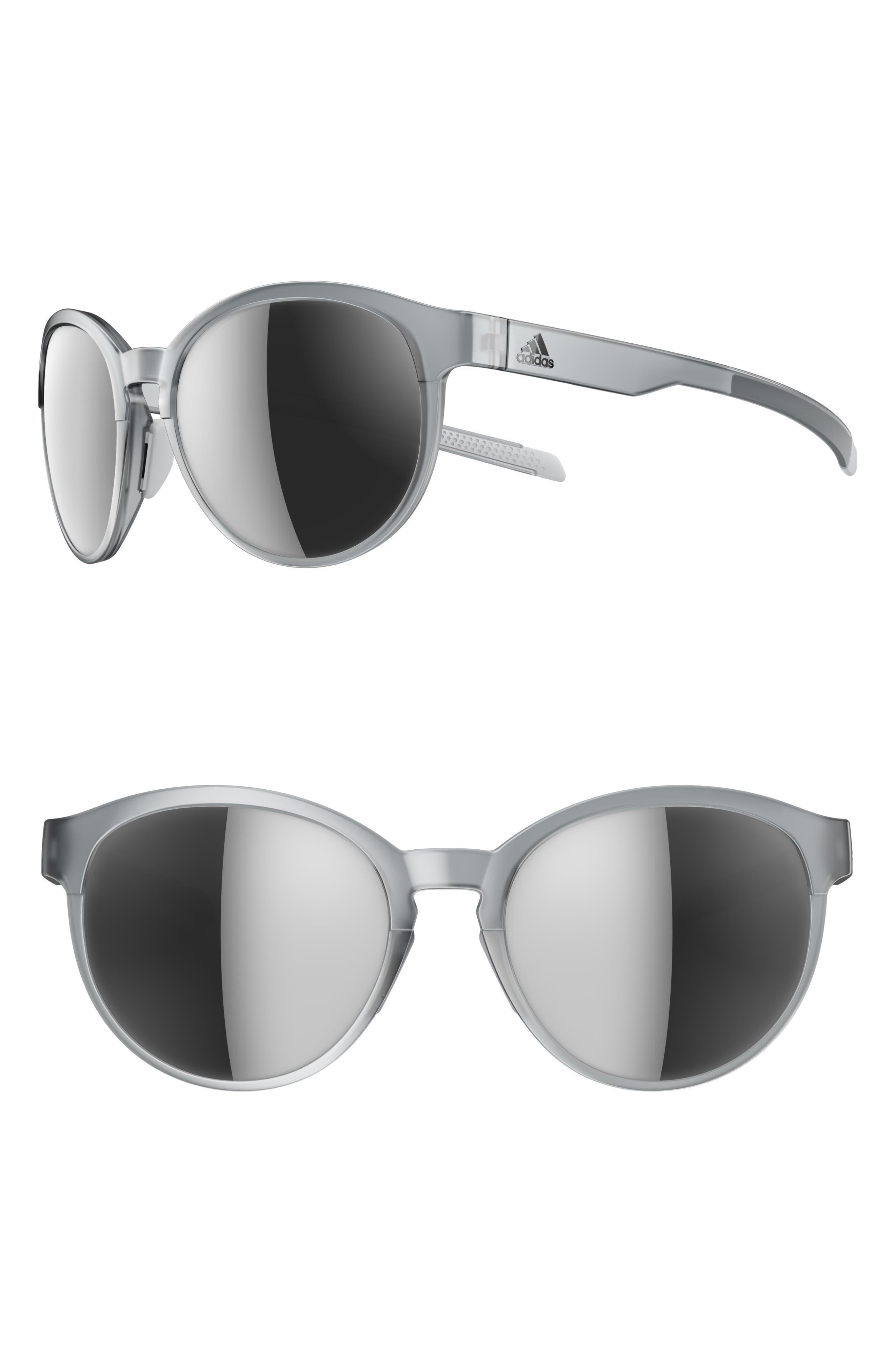 ADIDAS, Beyonder 55mm Mirrored Training Sunglasses, Main thumbnail 1, color, CRYSTAL GREY/ CHROME