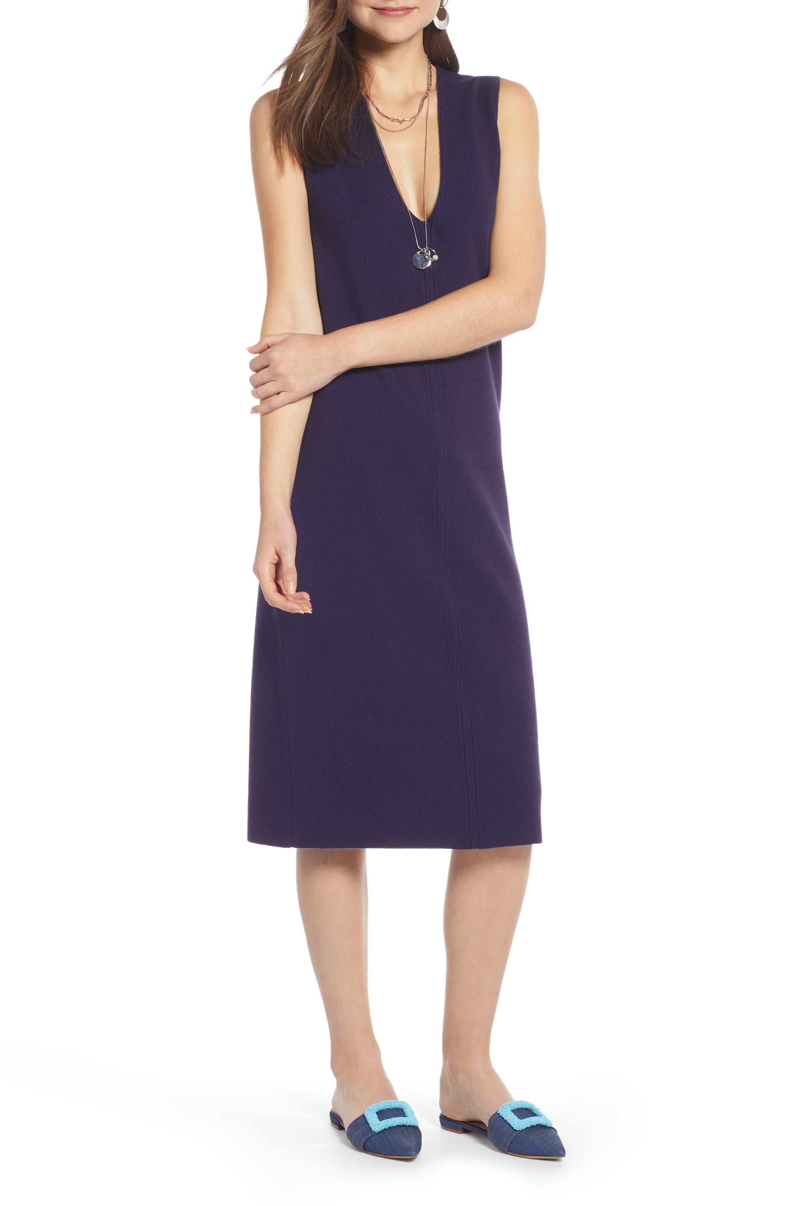 SOMETHING NAVY, Sleeveless Sweater Dress, Main thumbnail 1, color, 401