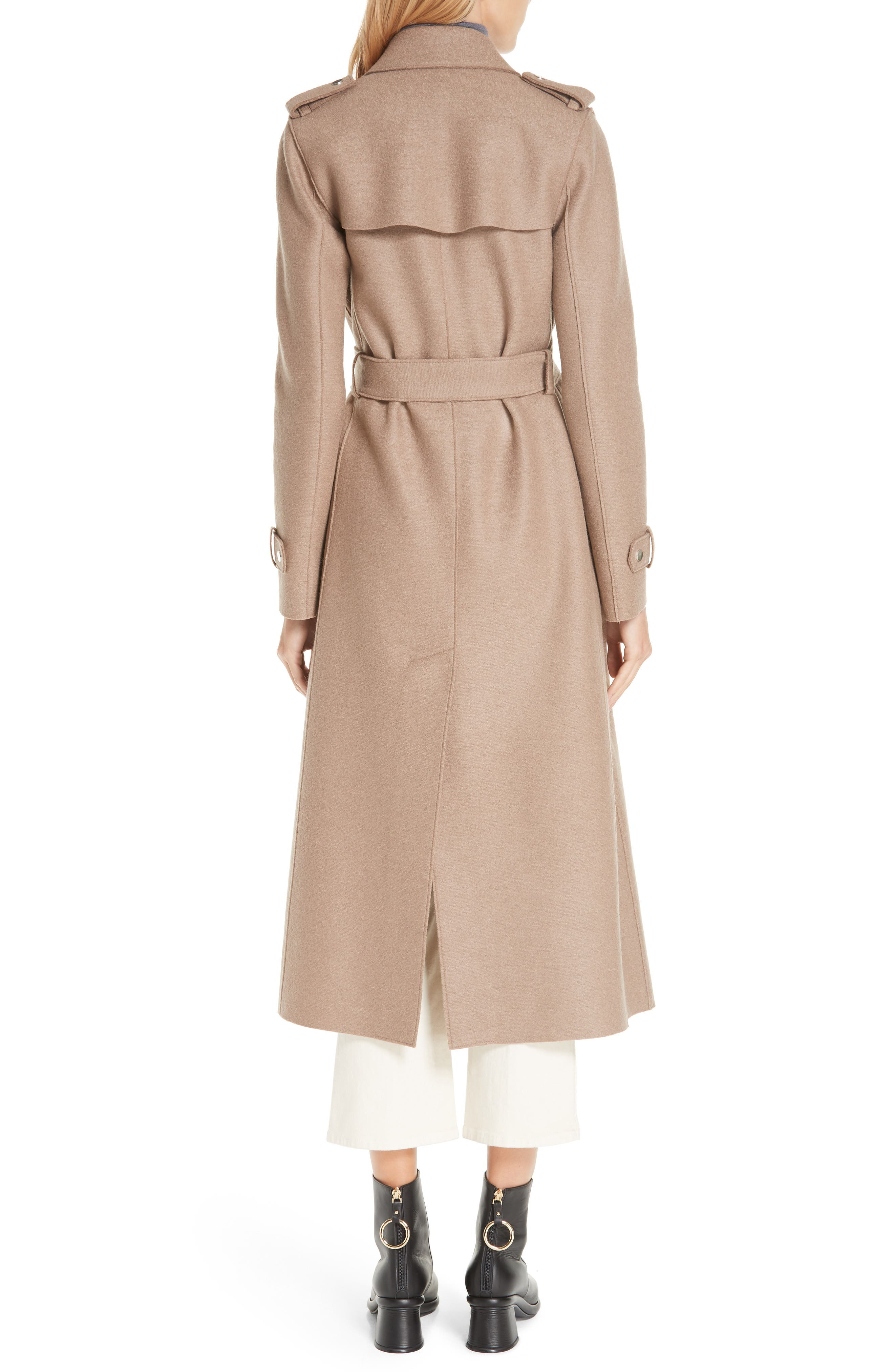 HARRIS WHARF LONDON, Long Belted Trench, Alternate thumbnail 2, color, CAMEL