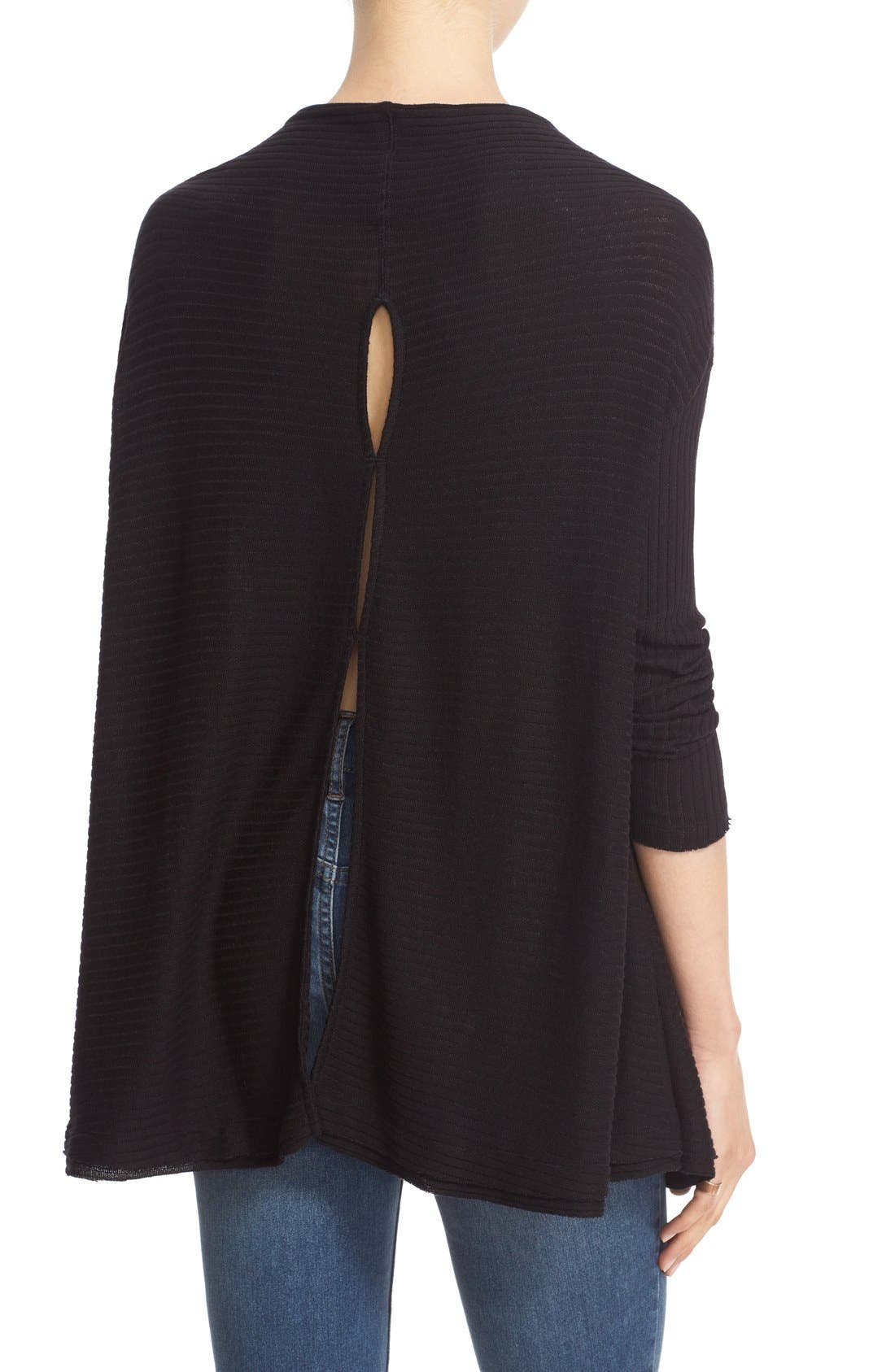 FREE PEOPLE, Lover Rib Split Back Pullover, Alternate thumbnail 8, color, 001