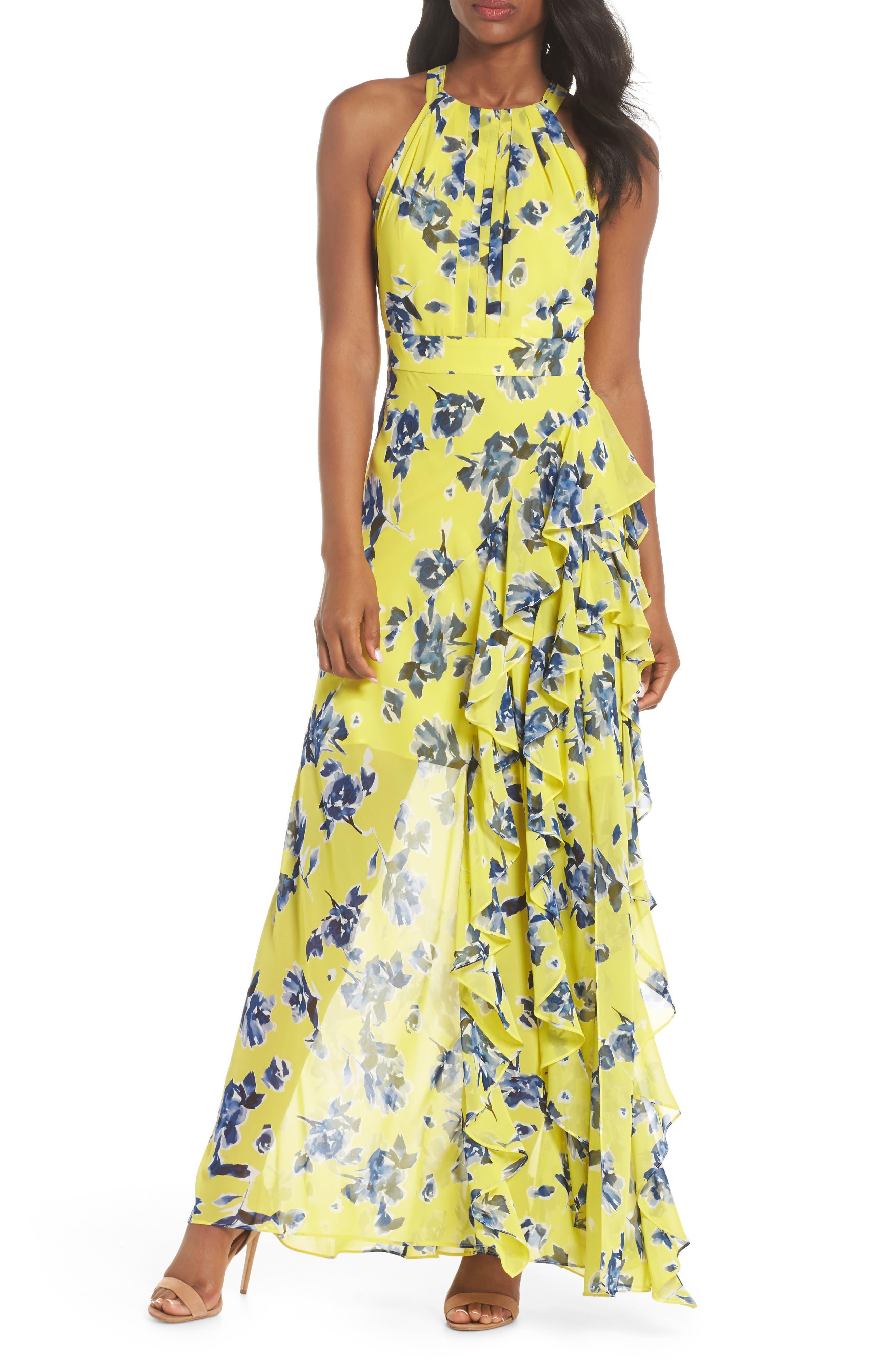 ELIZA J, Halter Ruffle Maxi Dress, Main thumbnail 1, color, YELLOW