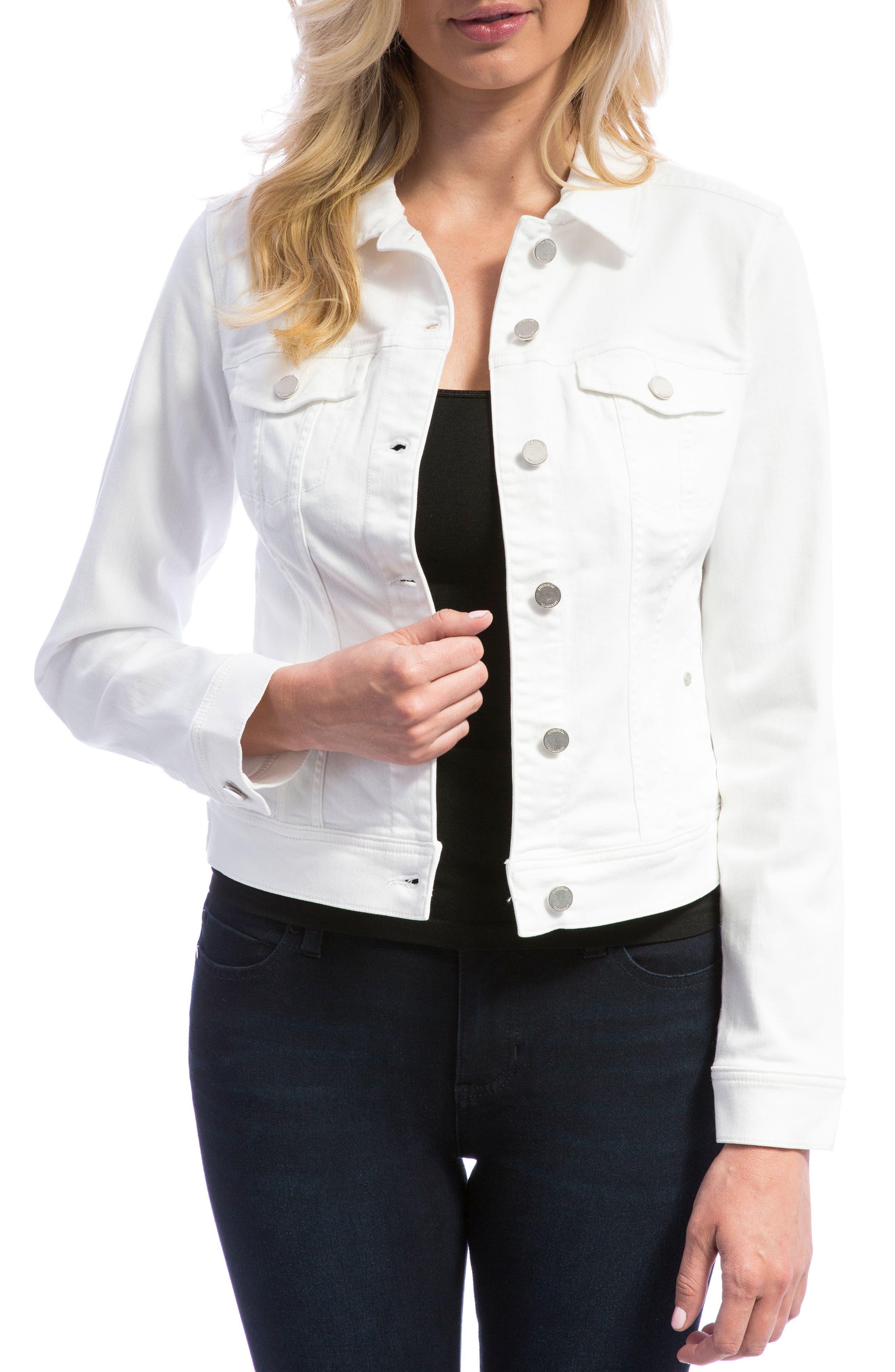 LIVERPOOL, Denim Jacket, Main thumbnail 1, color, BRIGHT WHITE