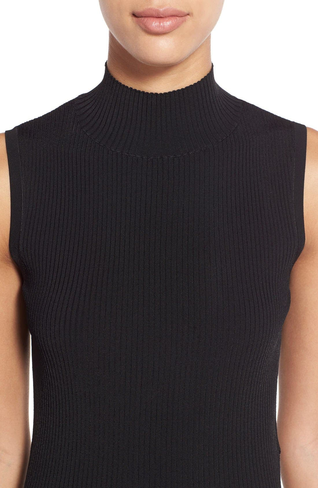 HALOGEN<SUP>®</SUP>, Ribbed Mock Neck Top, Alternate thumbnail 5, color, 001