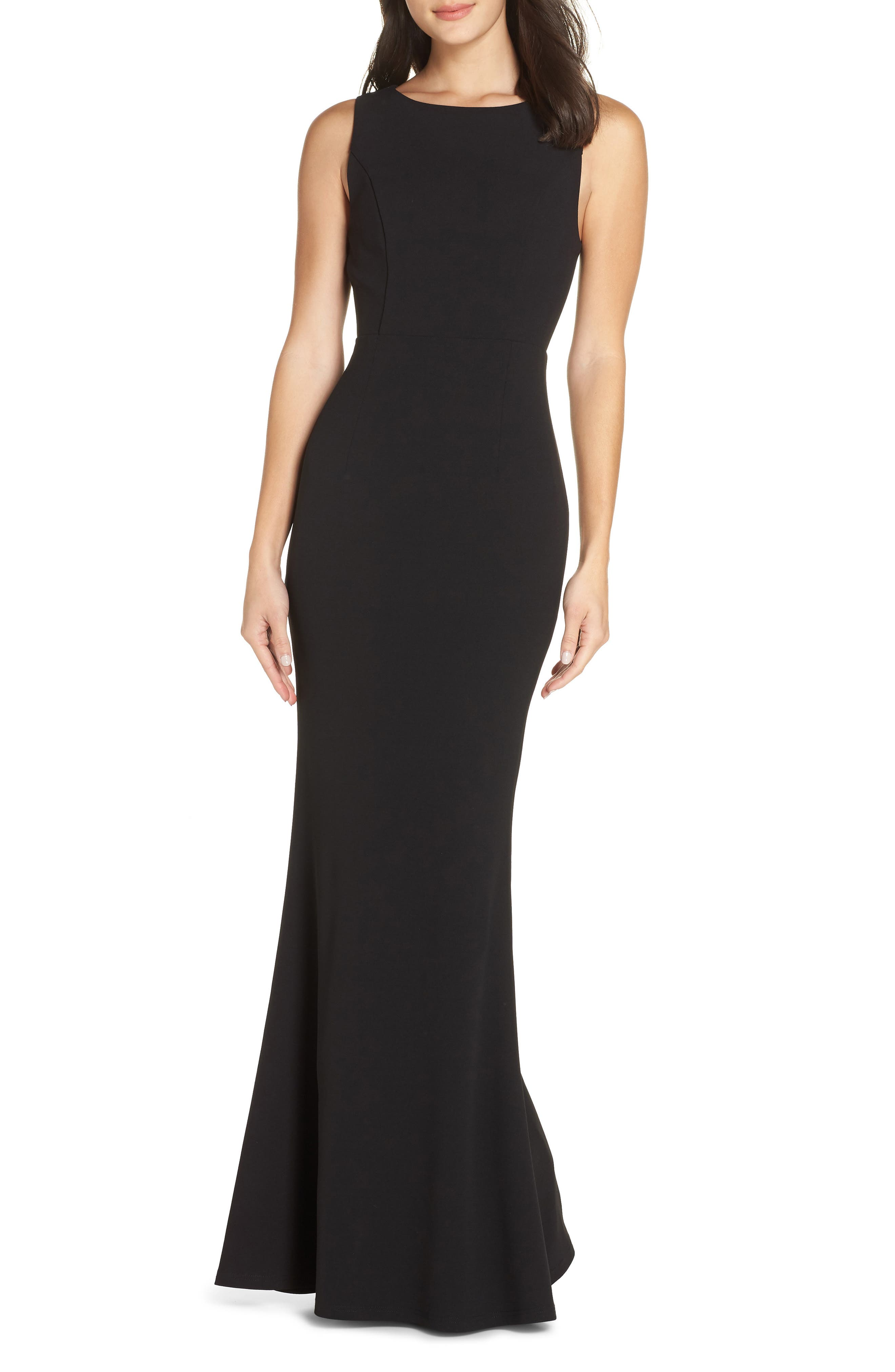 LULUS Mine Backless Trumpet Gown, Main, color, BLACK